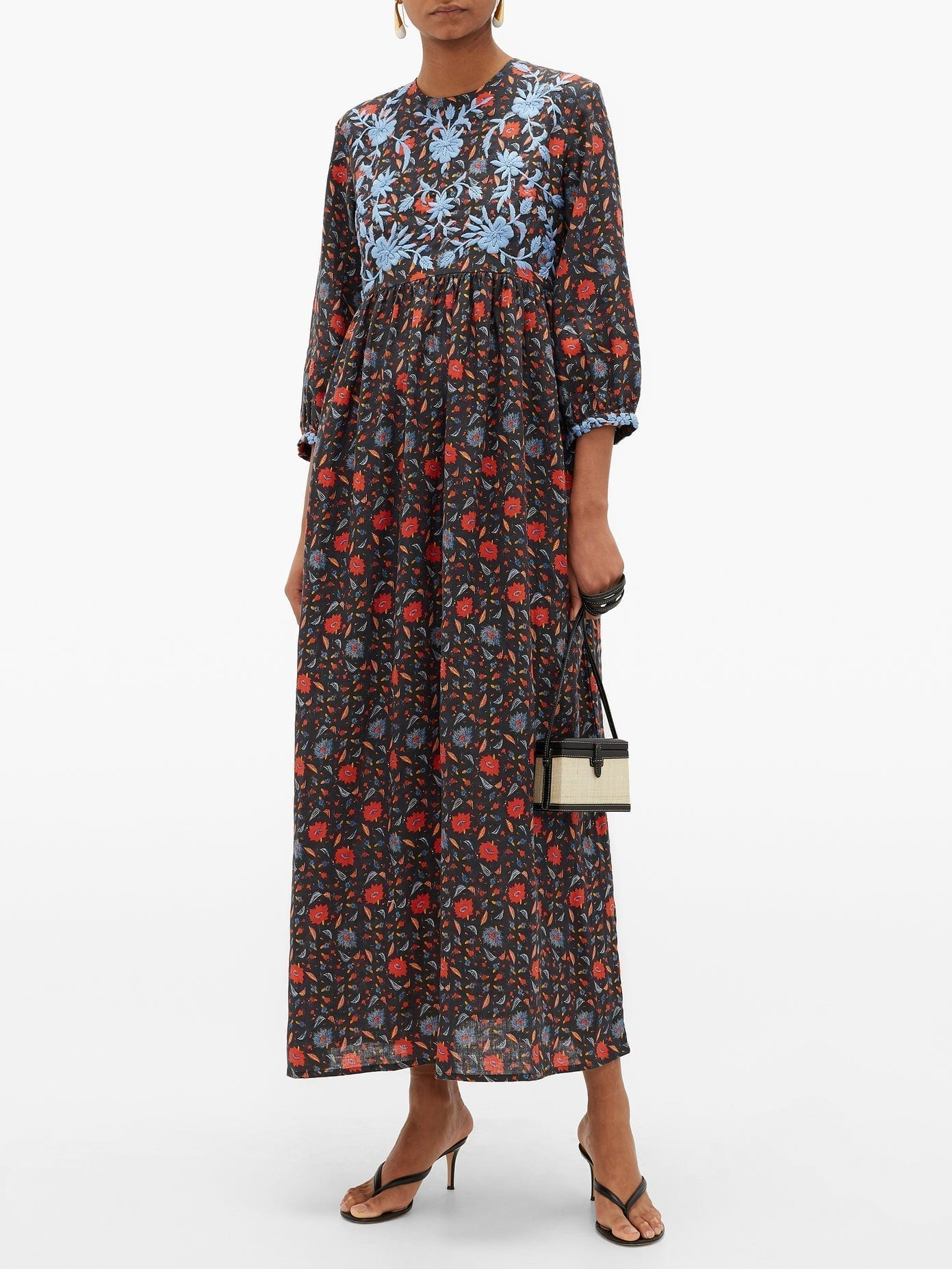 MUZUNGU SISTERS Floral-Embroidered Linen Dress