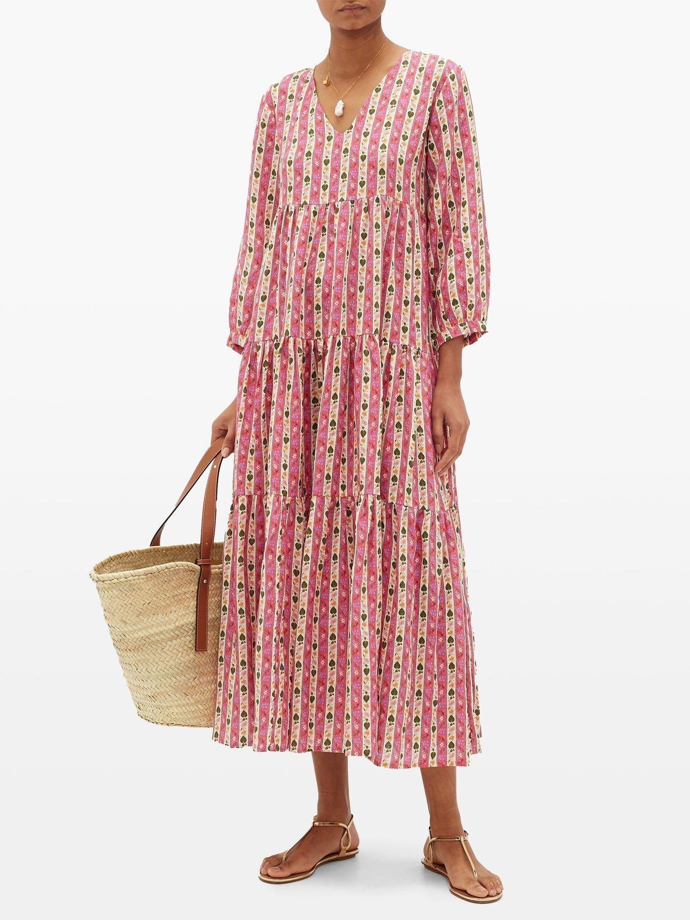 MUZUNGU SISTERS Floral-Striped Linen Dress