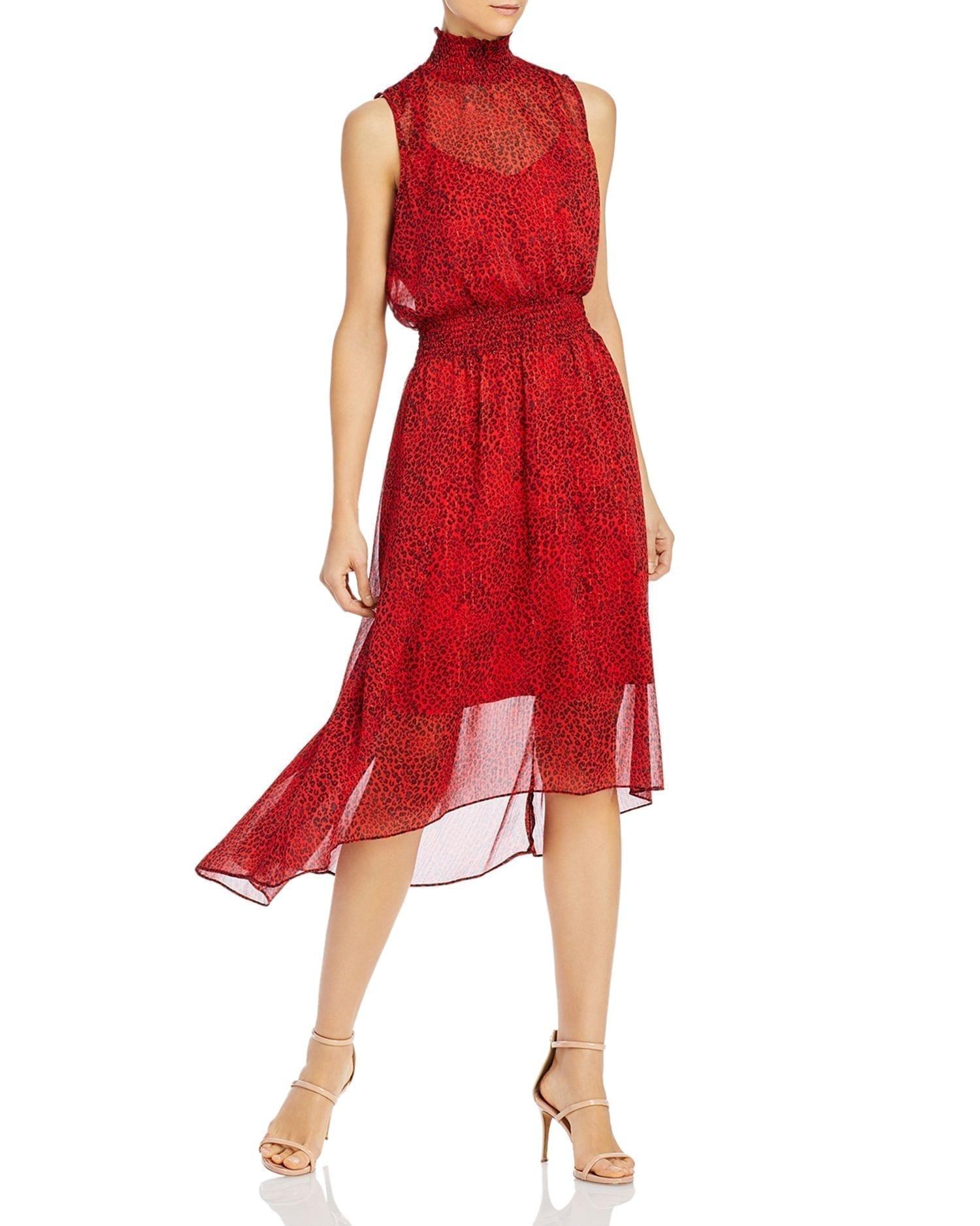 NANETTE NANETTE LEPORE Cat-Print Smocked-Waist Dress