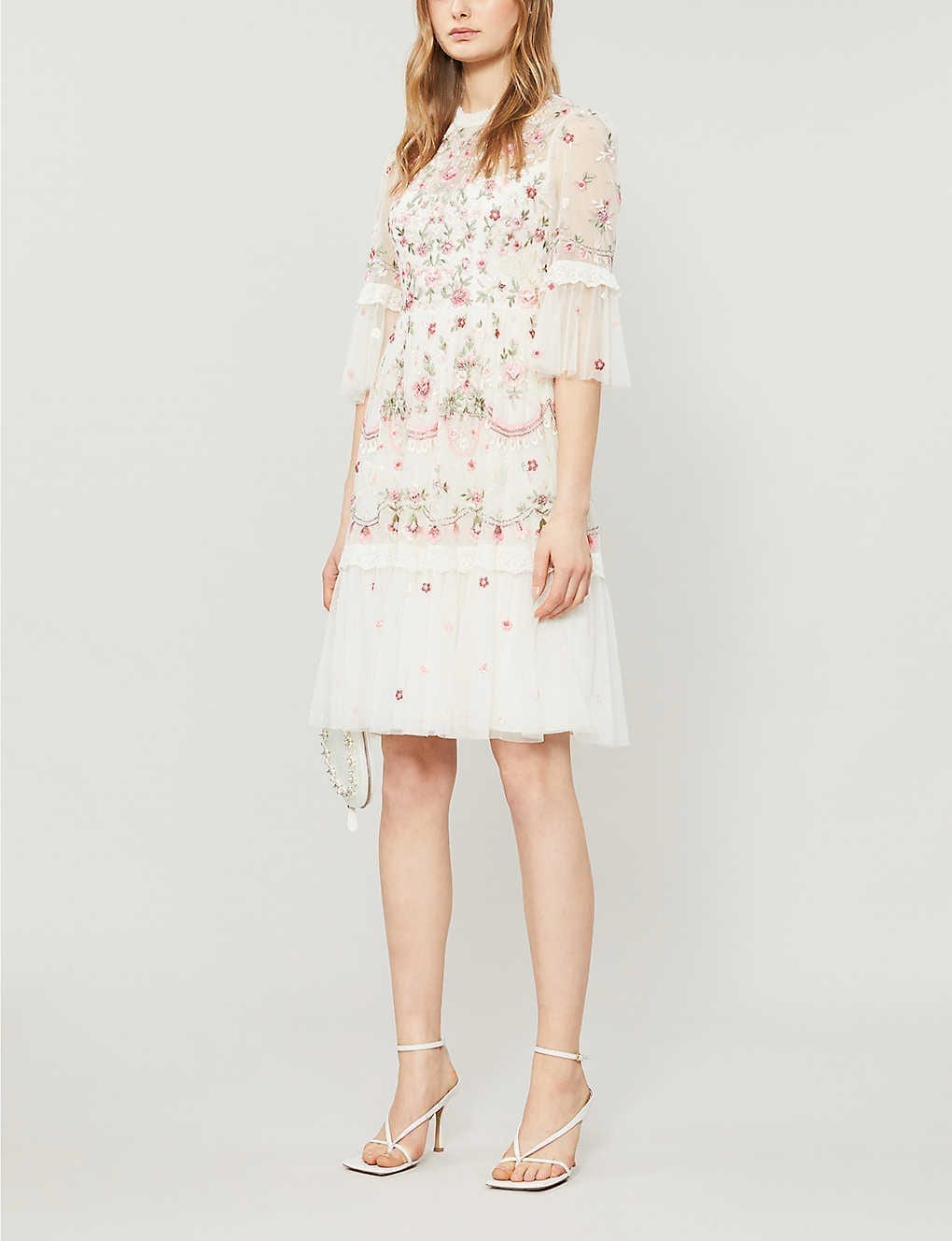NEEDLE AND THREAD Butterfly Meadow Floral And Sequin-embroidered Woven Mini Dress