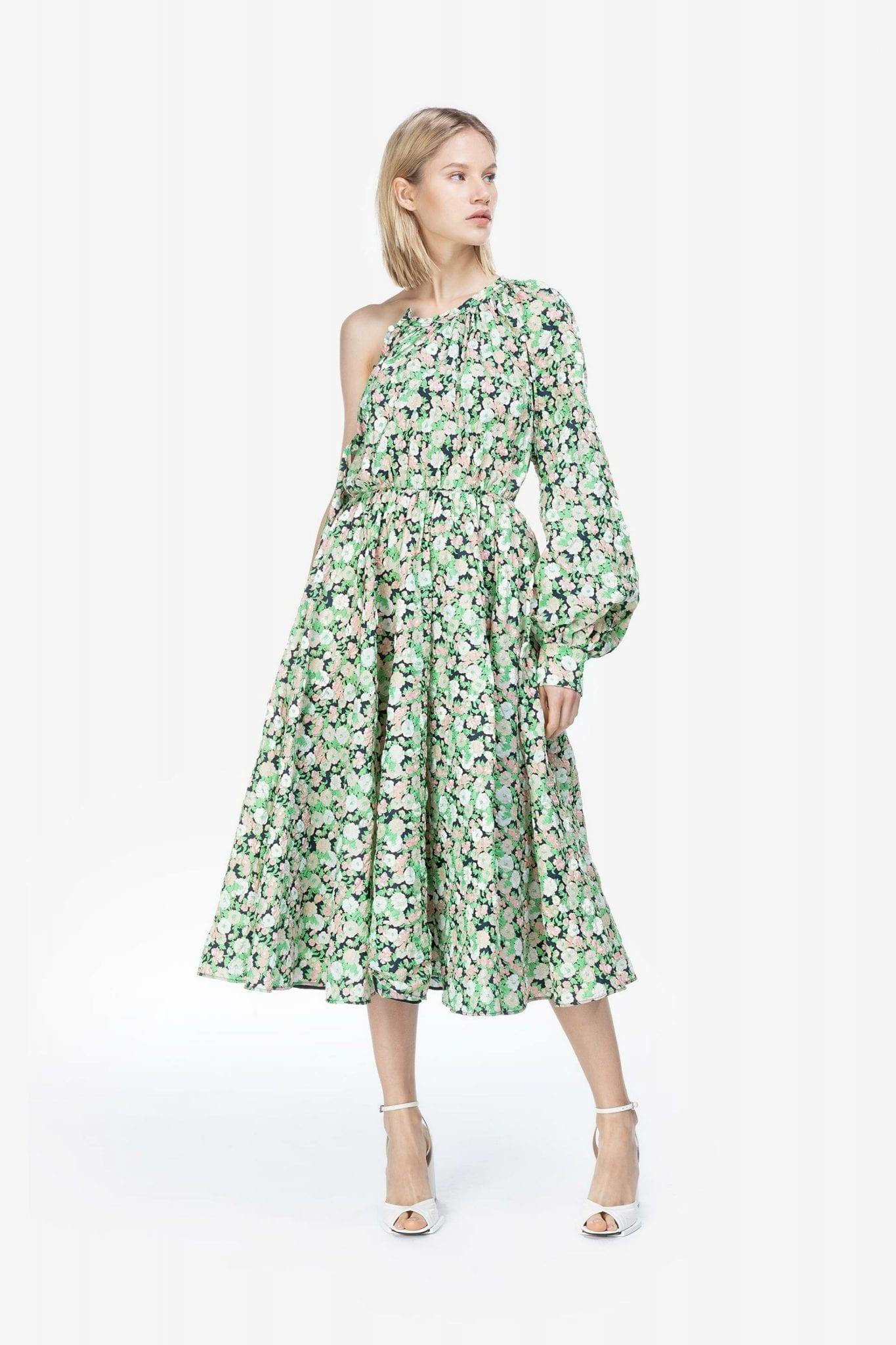 NUMEROVENTUNO Flora Print Bishop Sleeve Dress