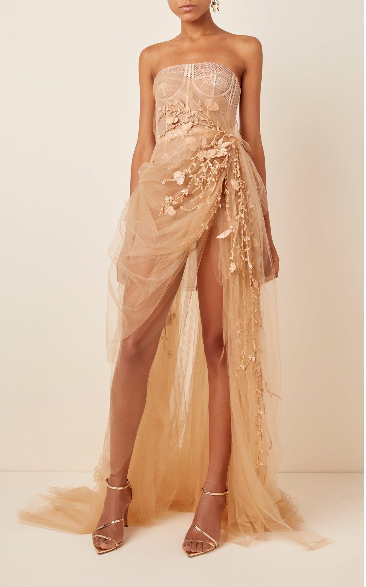 OSCAR DE LA RENTA Embroidered Tulle Bustier Gown