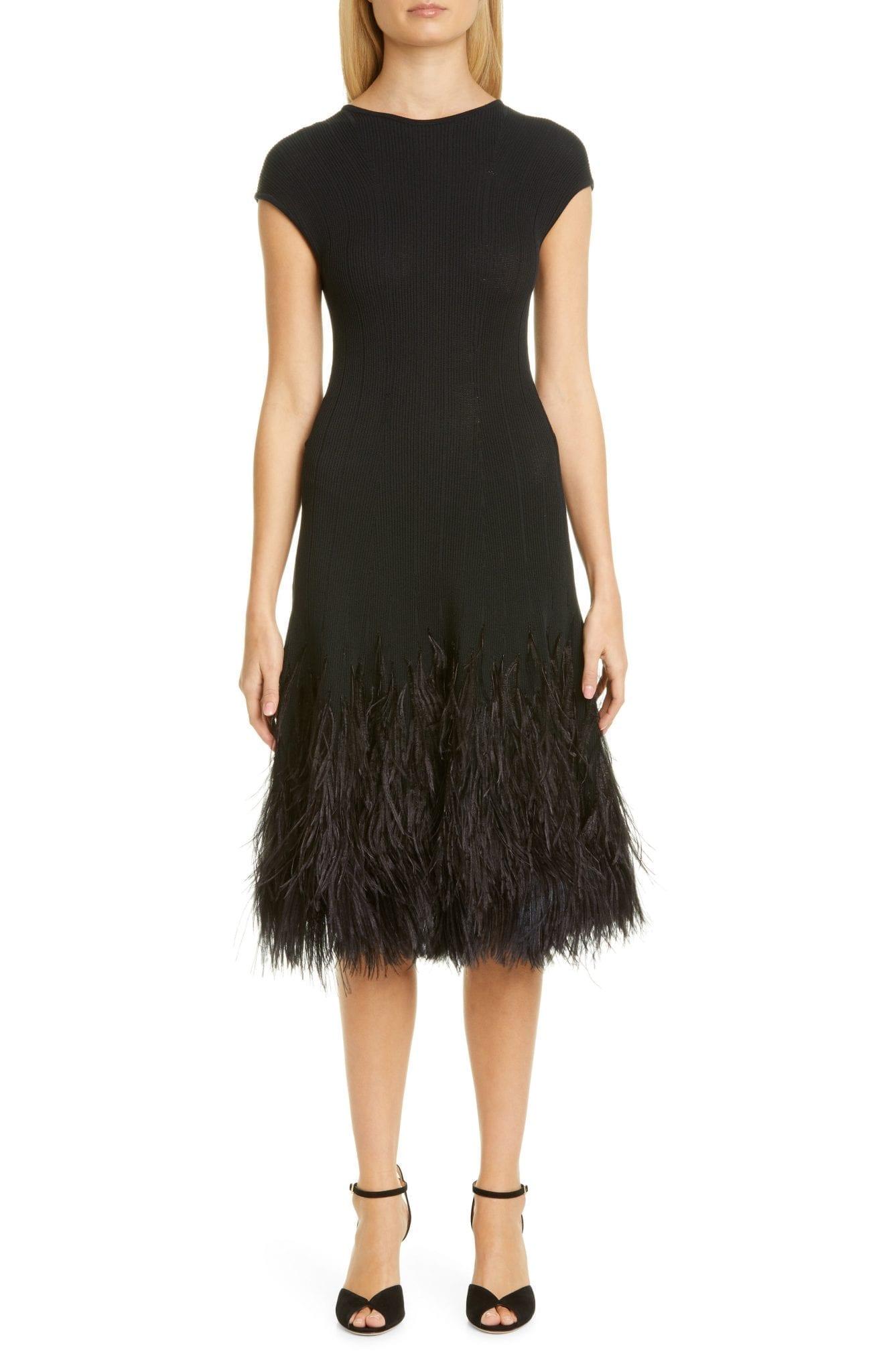 OSCAR DE LA RENTA Rib Cap Sleeve Feather Hem Dress