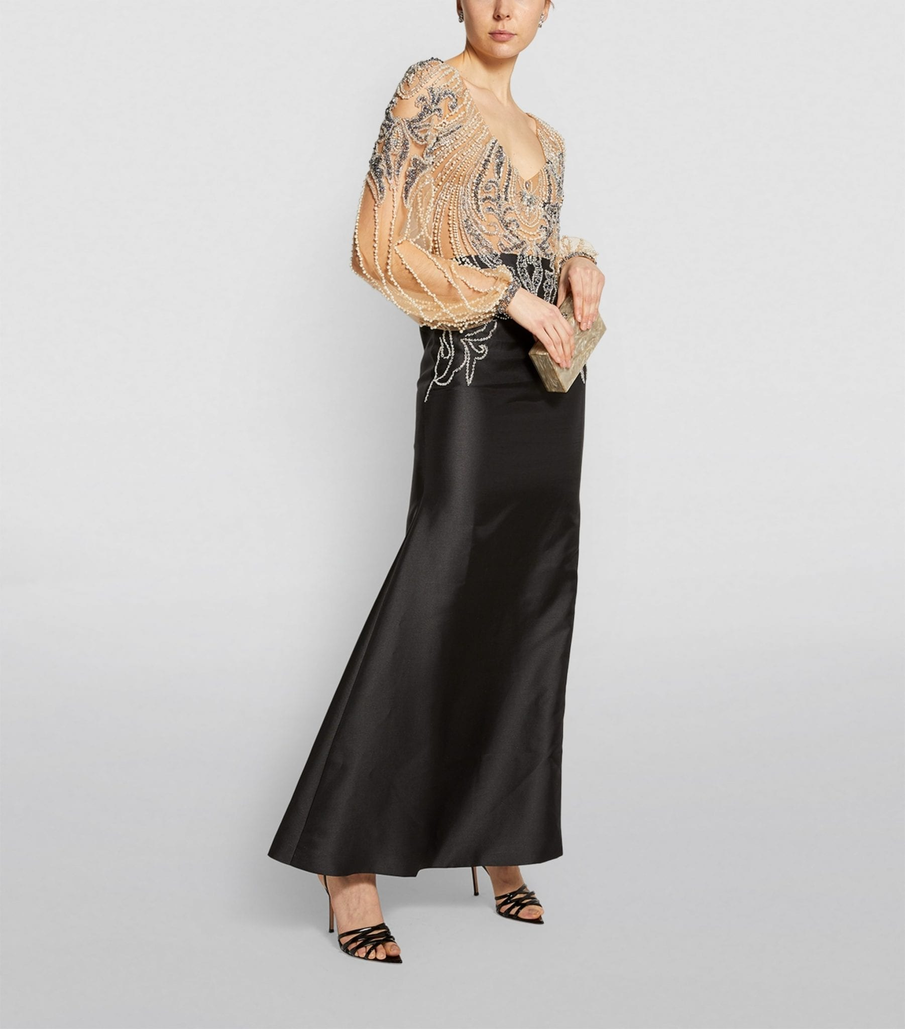 PATBO Embellished Satin Gown