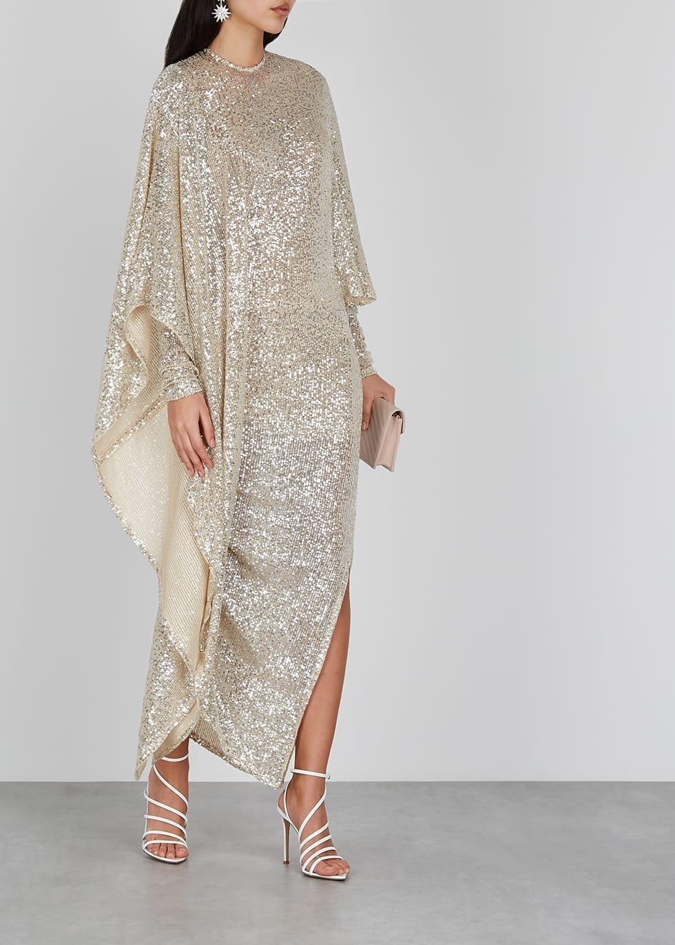 PAULA KNORR Champagne Draped Sequin Dress