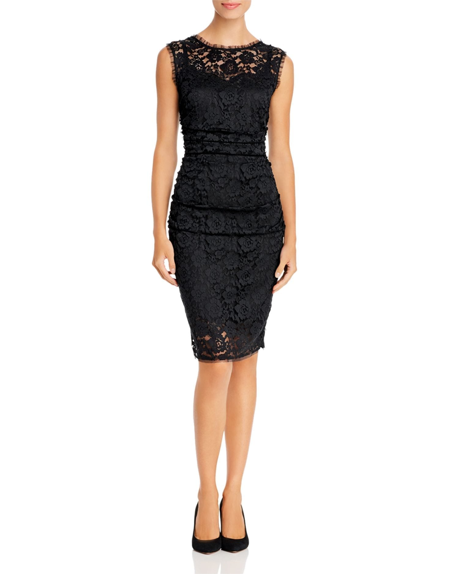 PAULE KA Ruched Lace Sheath Dress