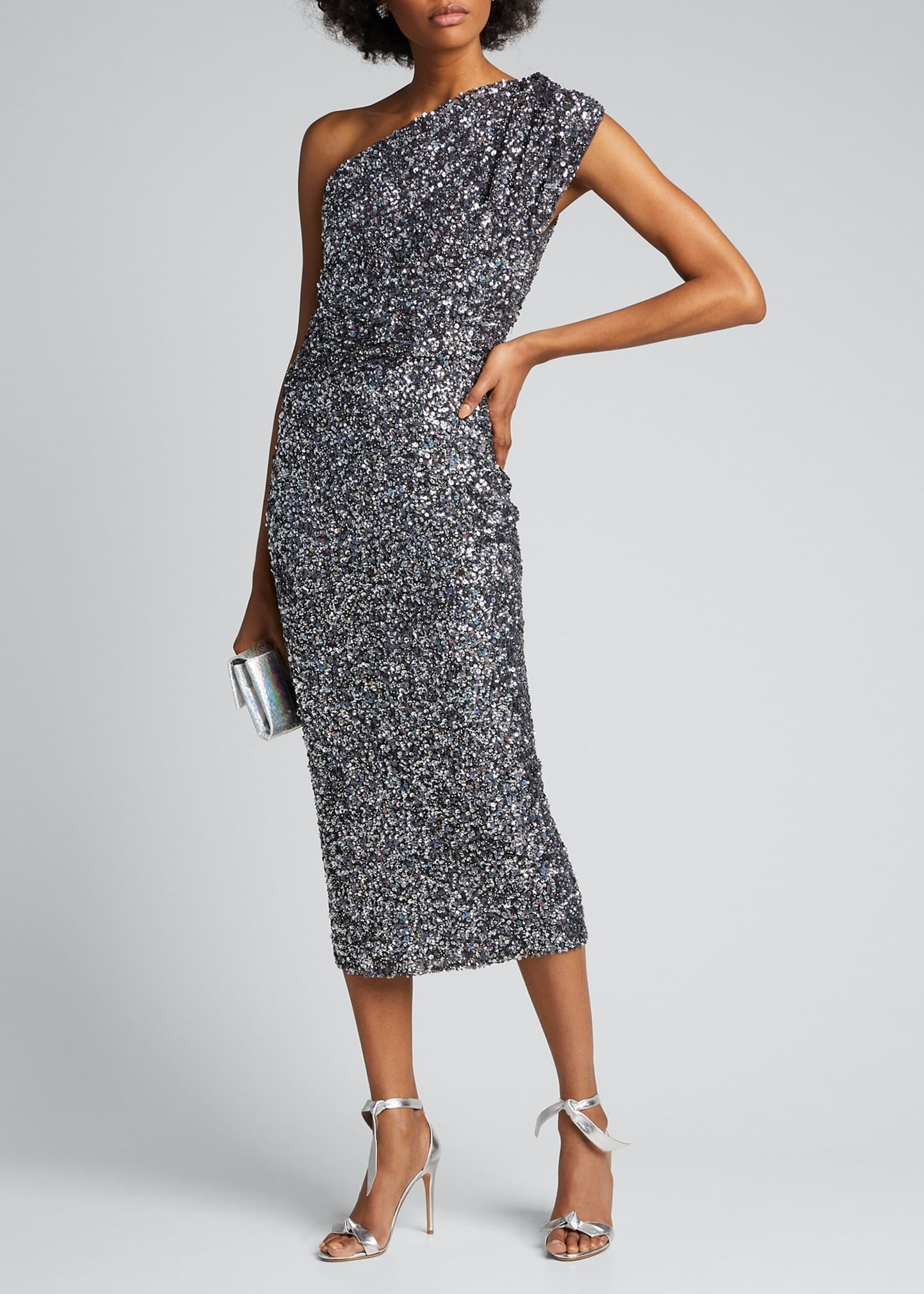 RACHEL GILBERT Embellished One-Shoulder Dress