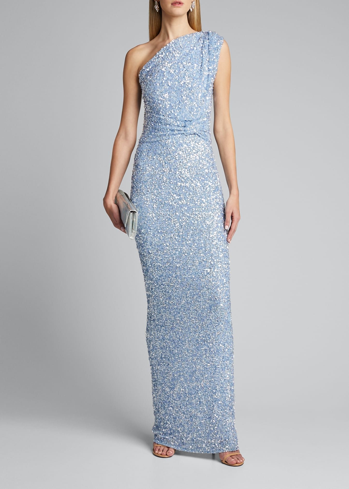 RACHEL GILBERT Embellished One-Shoulder Gown