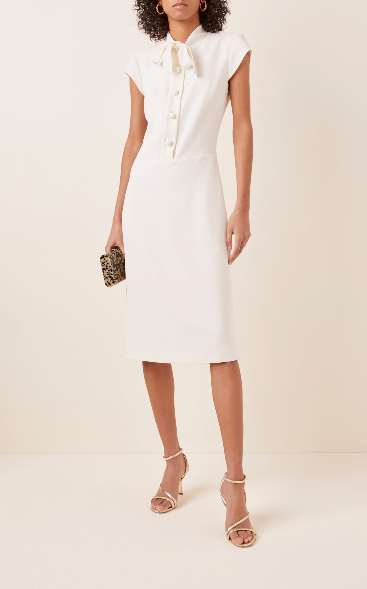 RALPH LAUREN Carlisle Tie-Neck Crepe Midi Dress