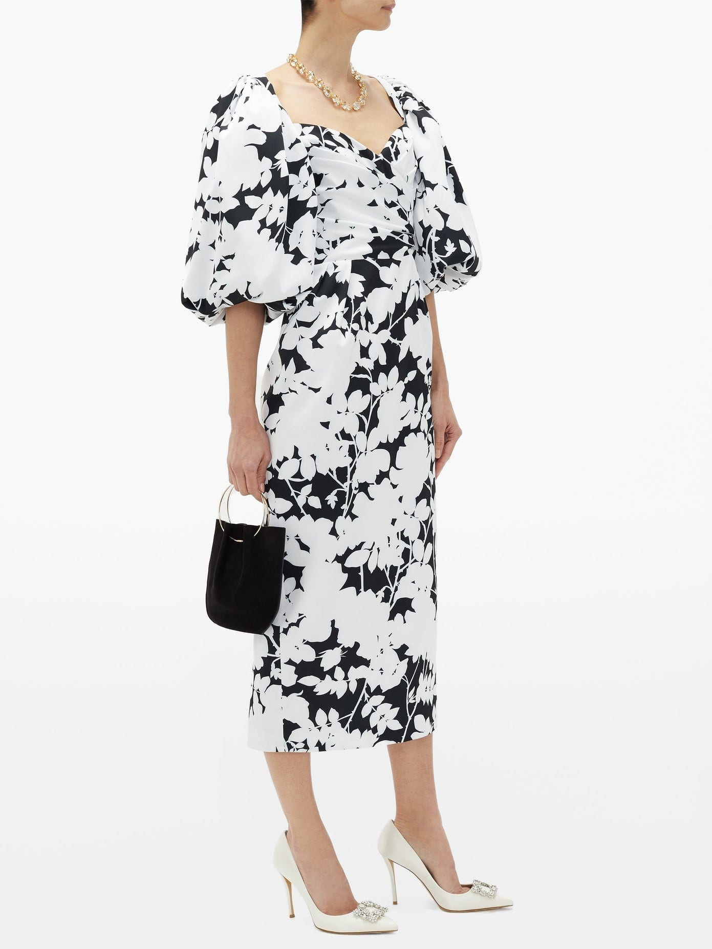 RASARIO Balloon-sleeve Floral-print Satin Midi Dress