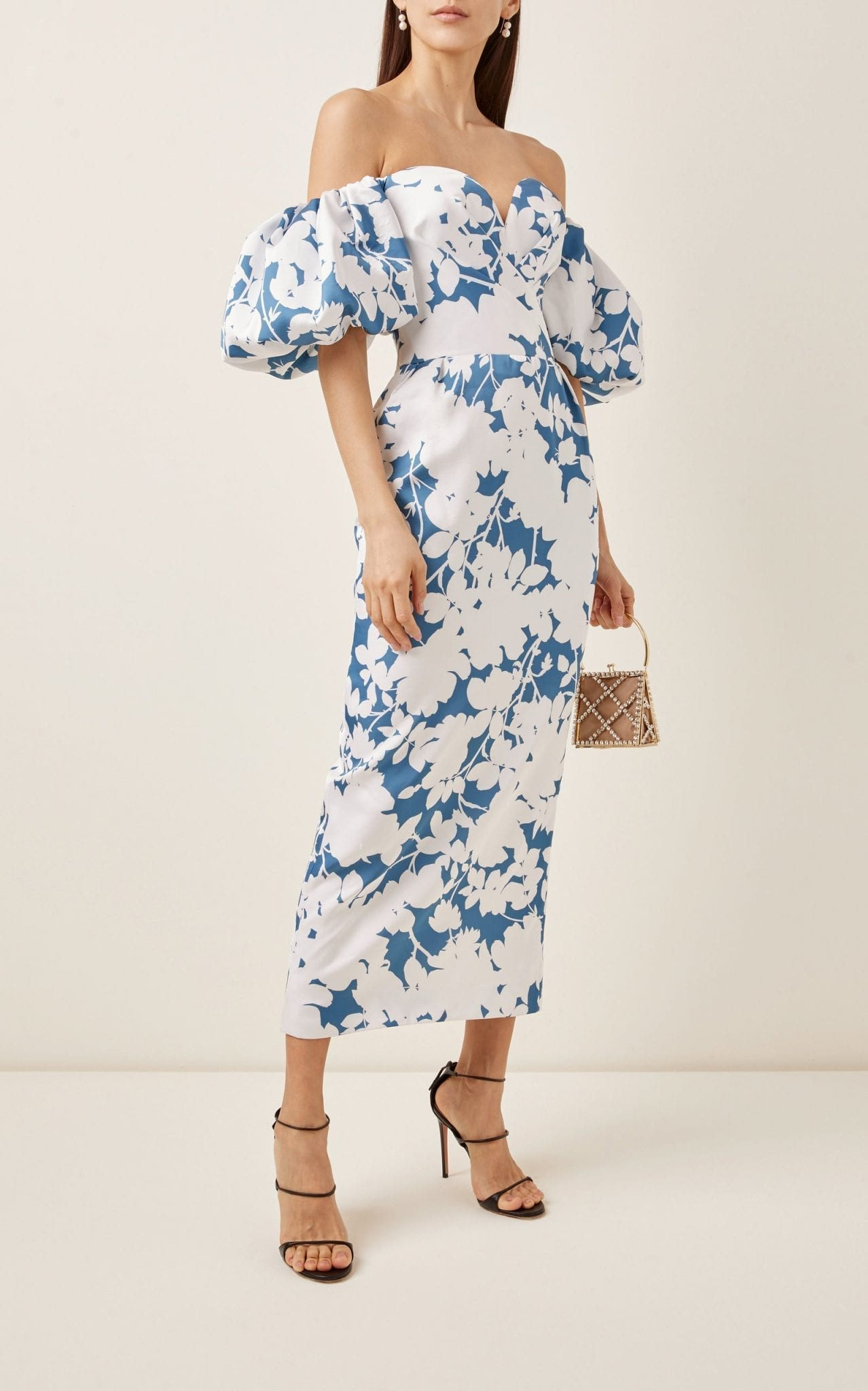 RASARIO Floral-Print Satin Midi Dress
