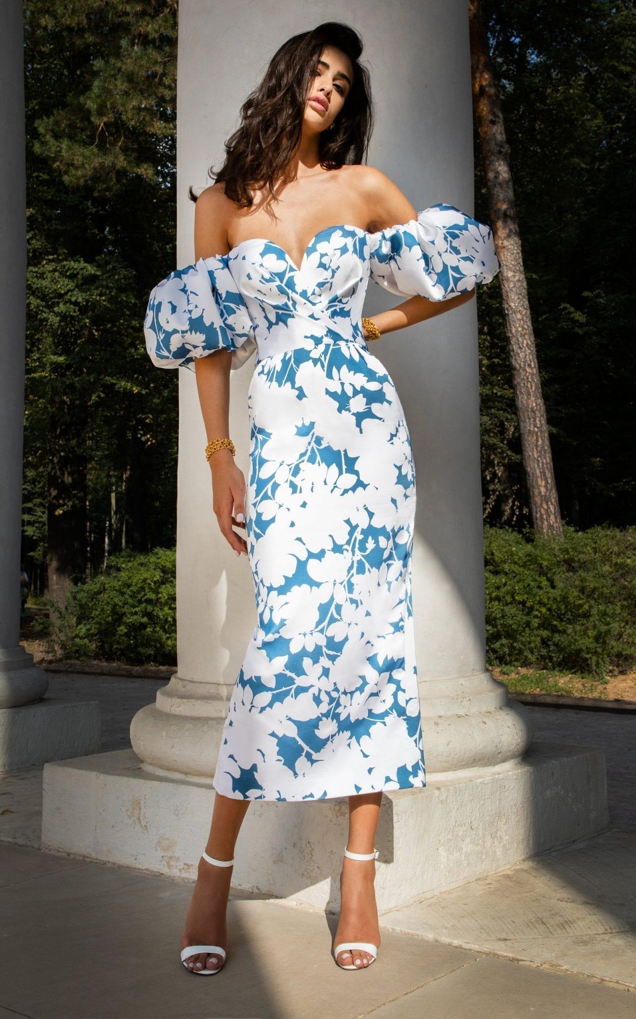 RASARIO Floral-Print Satin Midi Dress