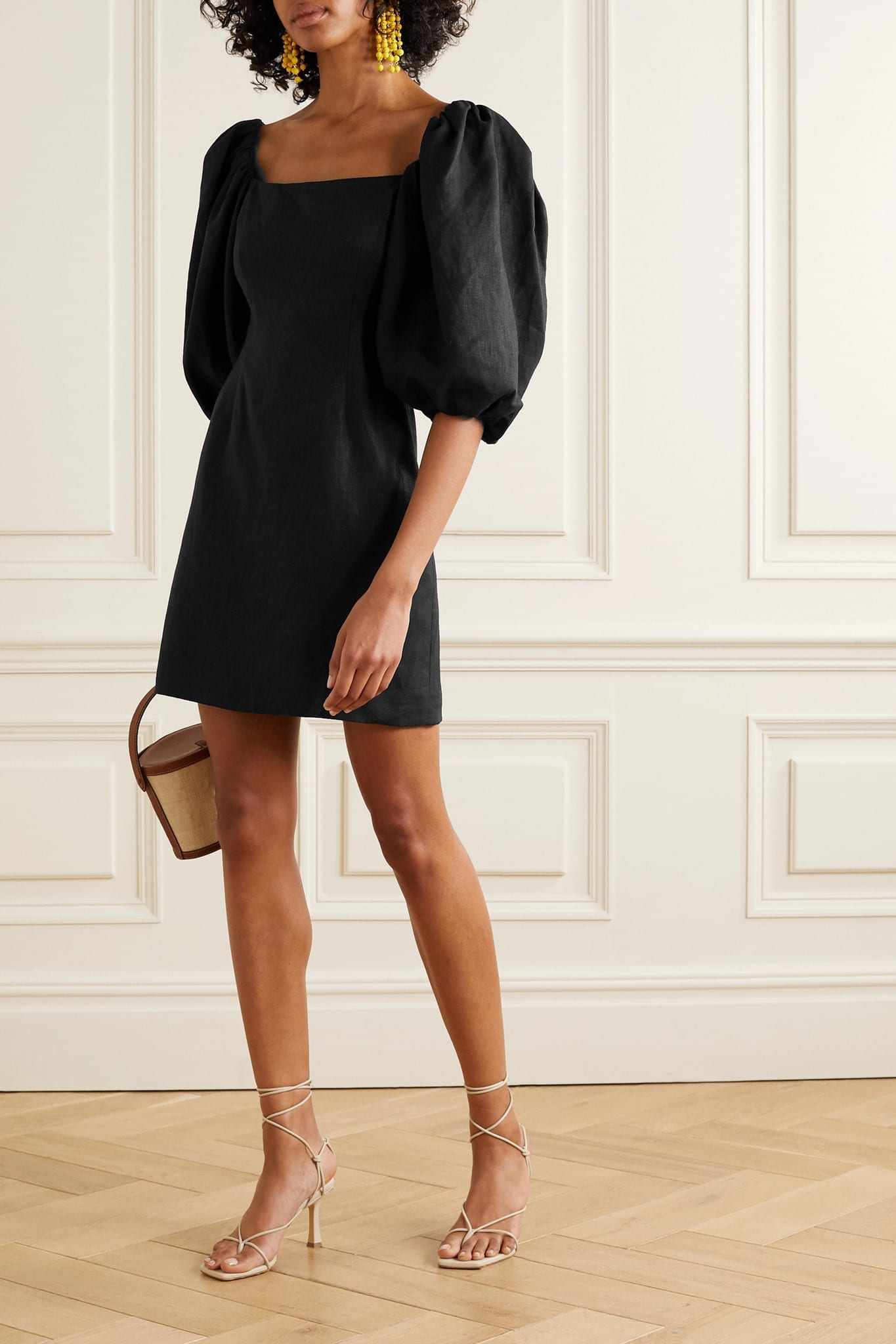 REBECCA DE RAVENEL First Impressions Off-the-shoulder Linen Mini Dress