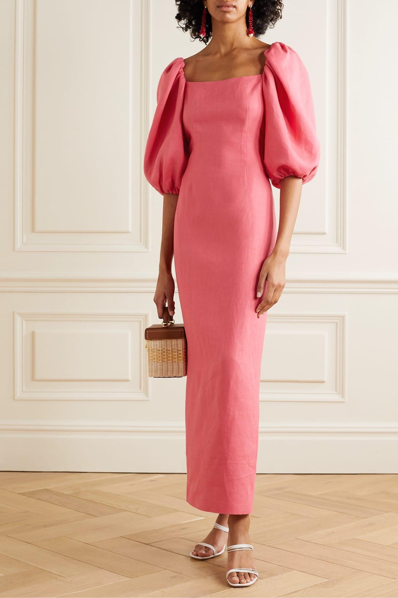 REBECCA DE RAVENEL Linen Maxi Dress
