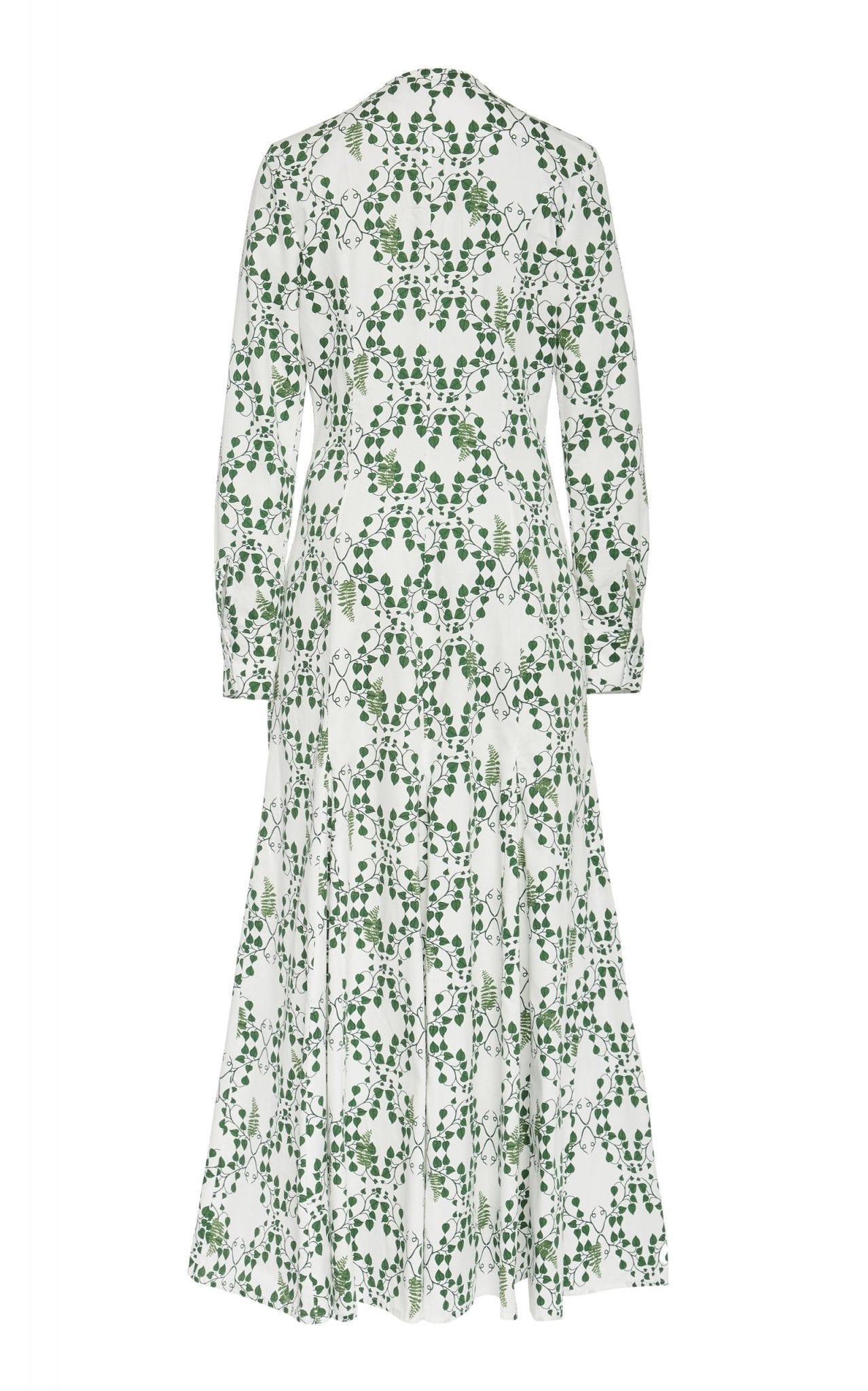 REBECCA DE RAVENEL Printed Cotton-Poplin Midi Dress