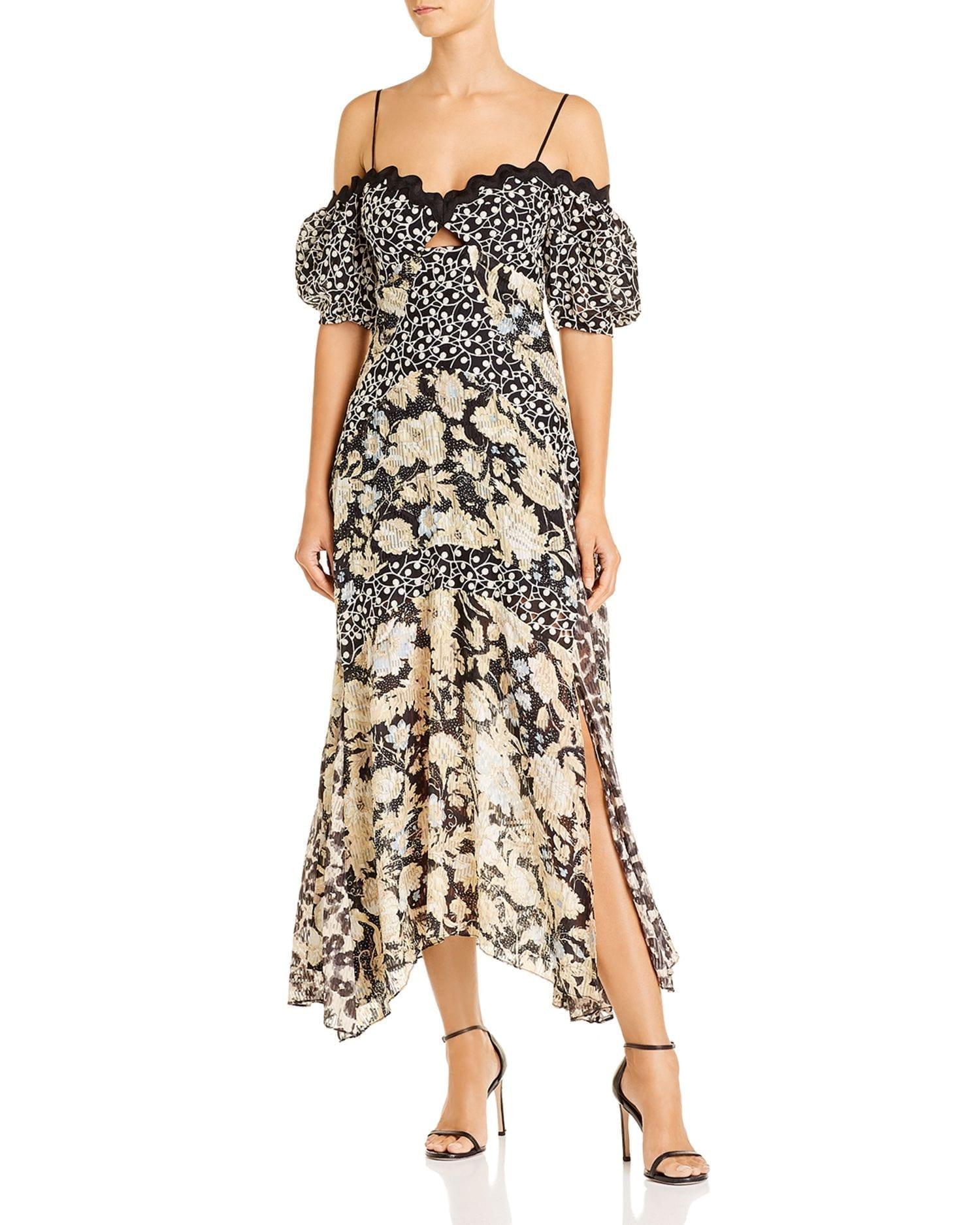 REBECCA TAYLOR Off-The-Shoulder Mixed-Print Midi Dress