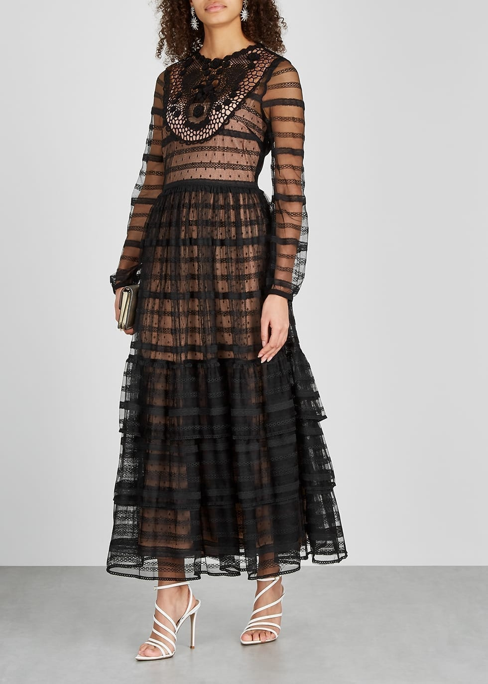 RED VALENTINO Black Crochet-trimmed Lace Maxi Dress