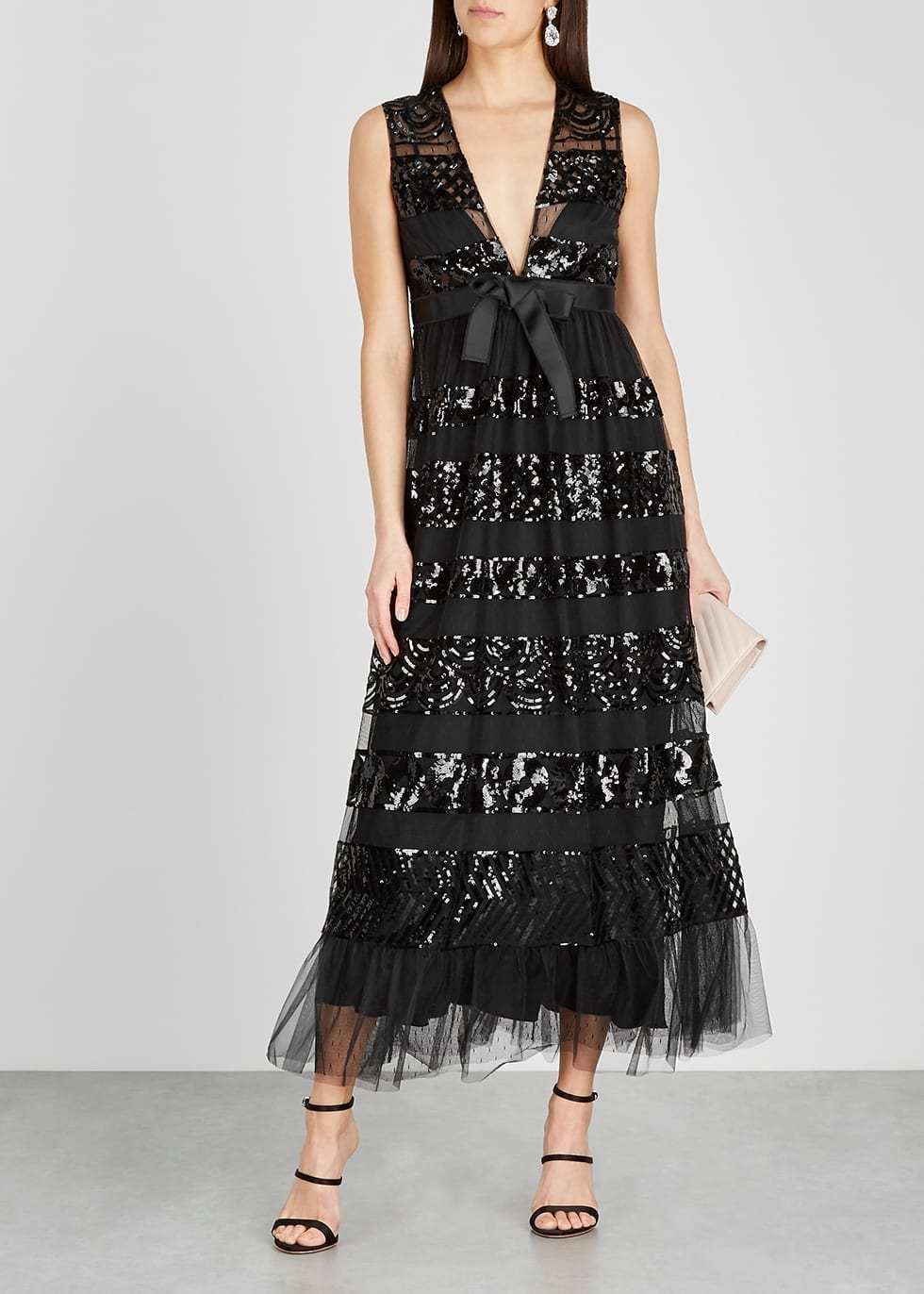 RED VALENTINO Black Sequin-embellished Tulle Maxi Dress