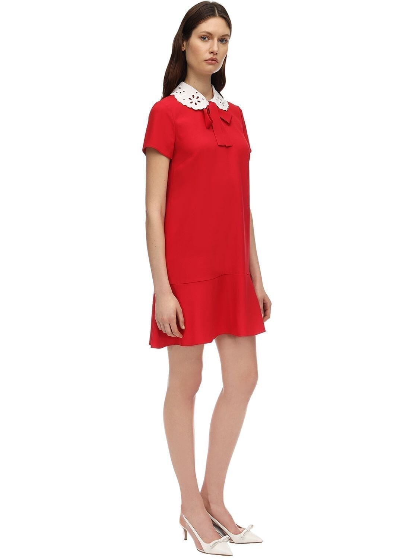 RED VALENTINO Eyelet Lace Collar Crepe Mini Dress