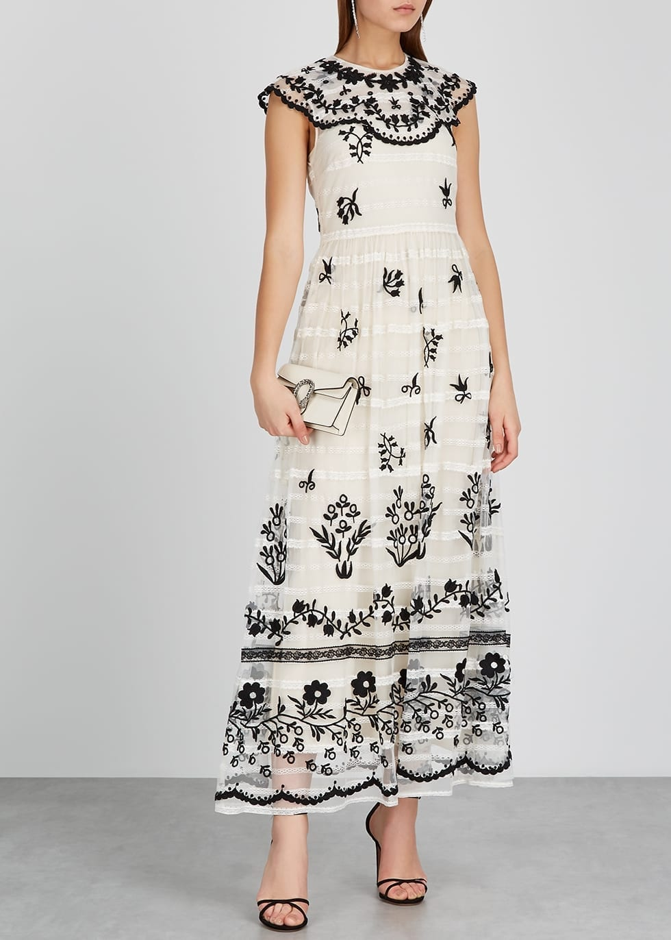 RED VALENTINO Ivory Floral-embroidered Tulle Maxi Dress