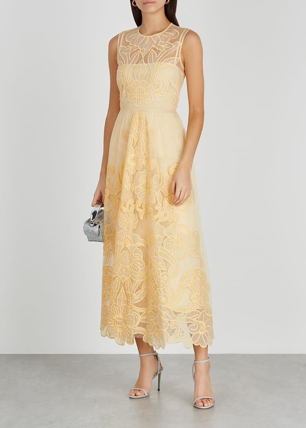 RED VALENTINO Yellow Floral-embroidered Point D'esprit Dress
