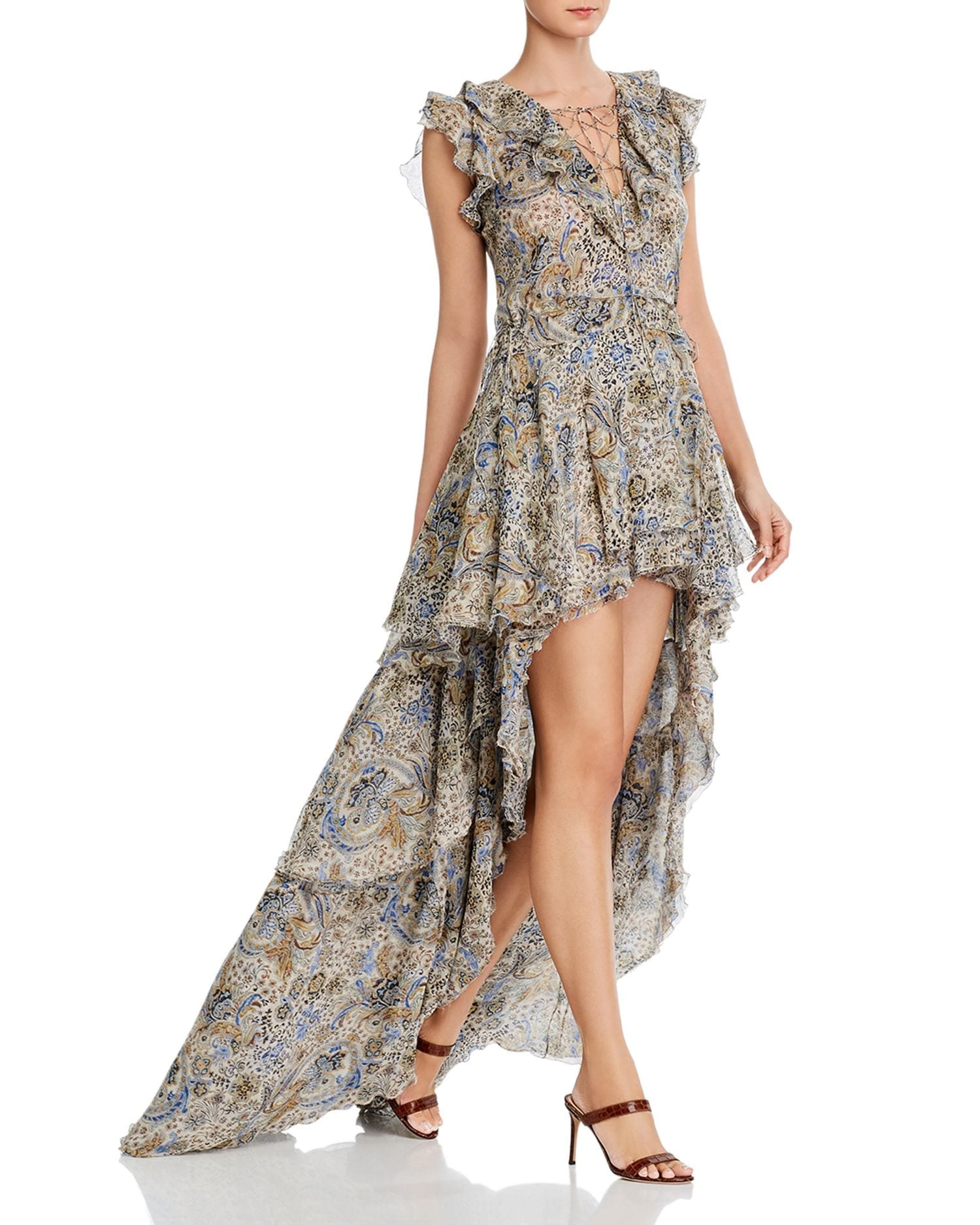 REDEMPTION Silk Ruffled High Low Dress