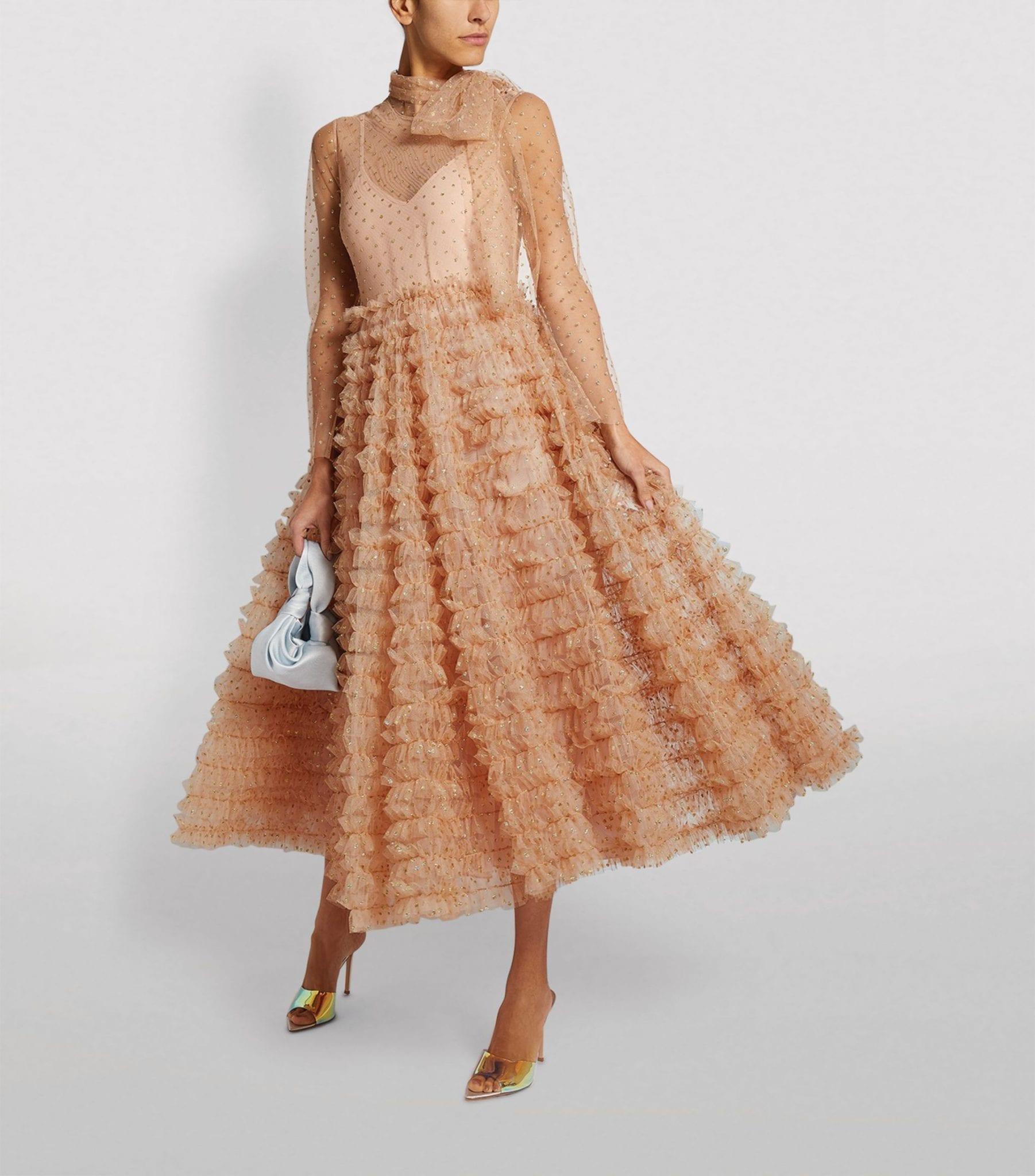REDVALENTINO Glitter-Embellished Polka-Dot Dress