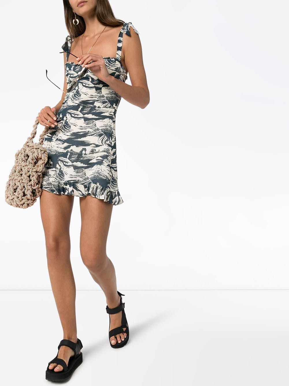 REFORMATION Christine Printed Ruffled Dress