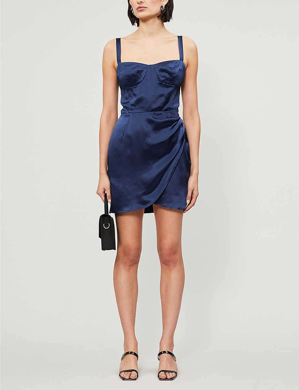 REFORMATION Fonda Wrap Silk-satin Mini Dress