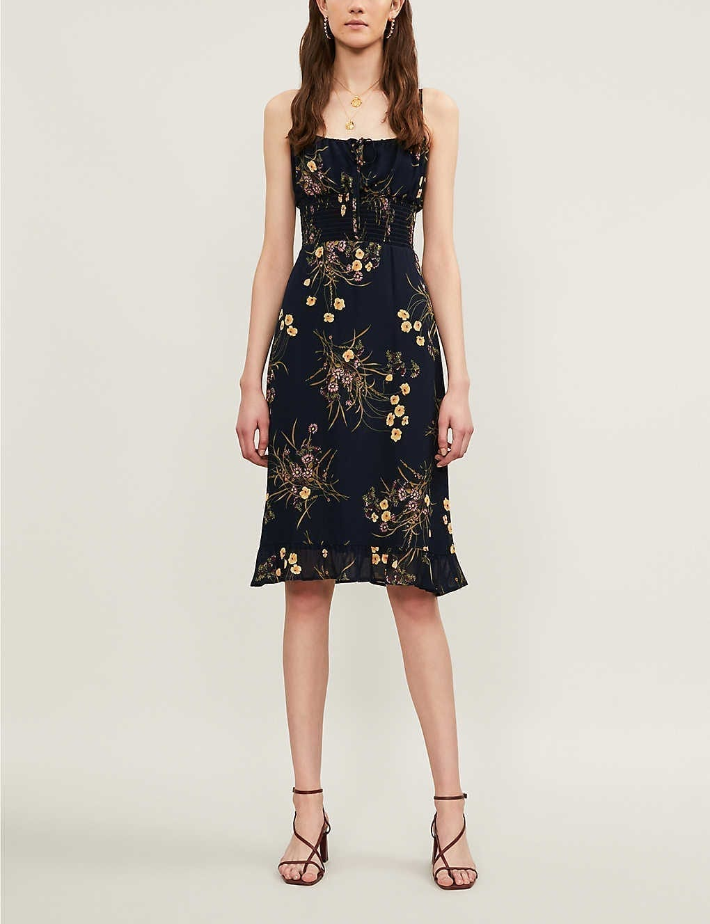 REFORMATION Genie Floral-print Crepe Dress