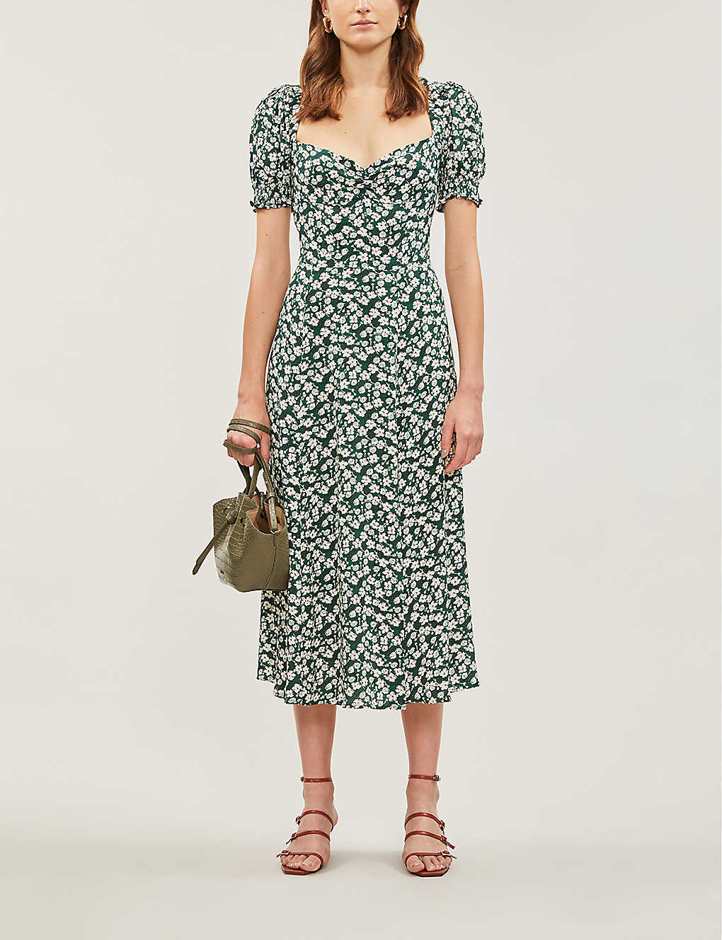 REFORMATION Lacey Abstract-print Crepe Midi Dress