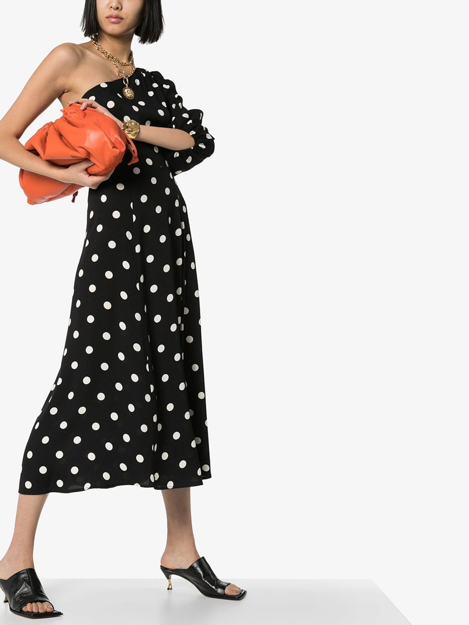 REFORMATION Lawrence One Sleeve Polka Dot Midi Dress