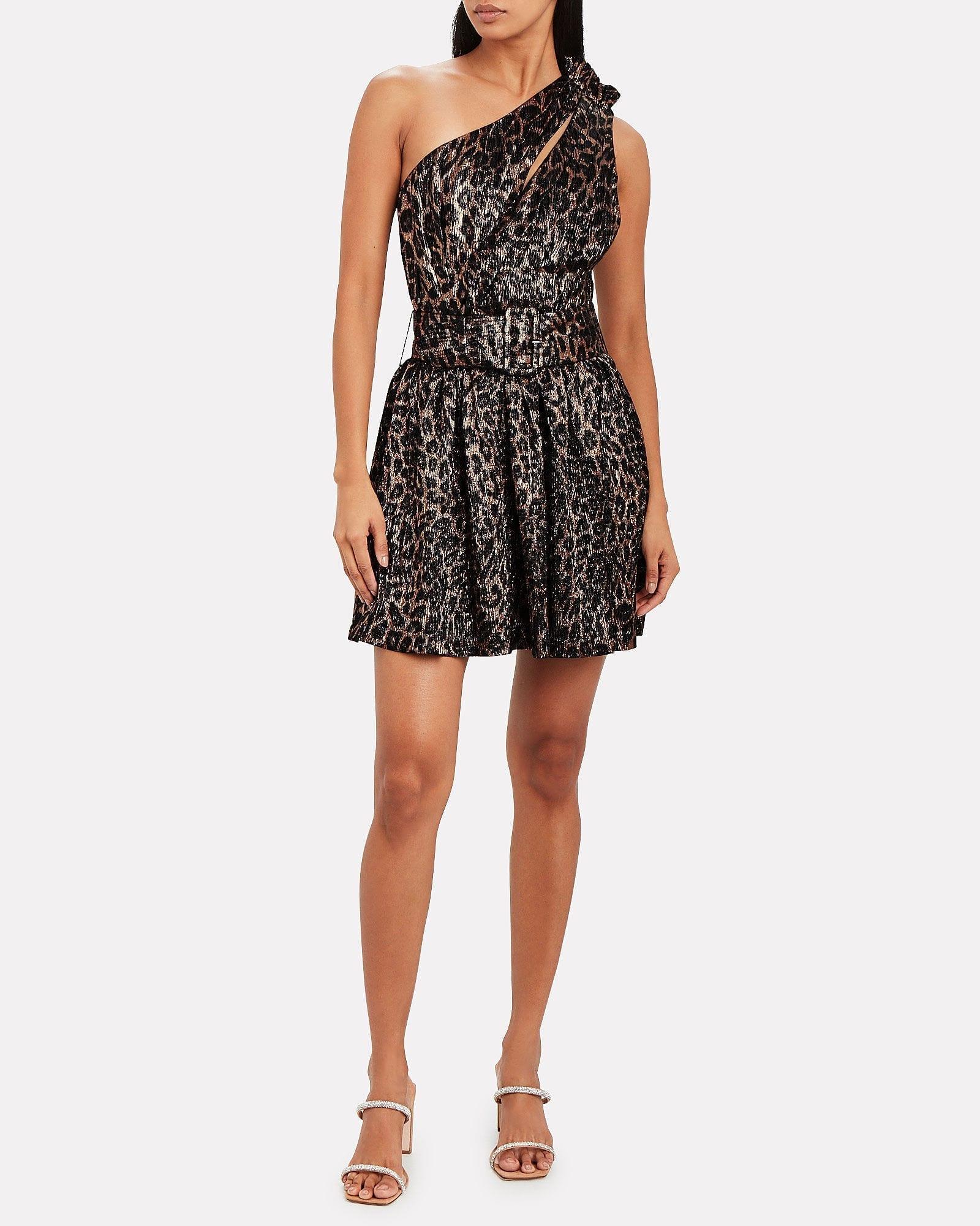 RETROFÊTE Kayla Leopard Lamé Mini Dress
