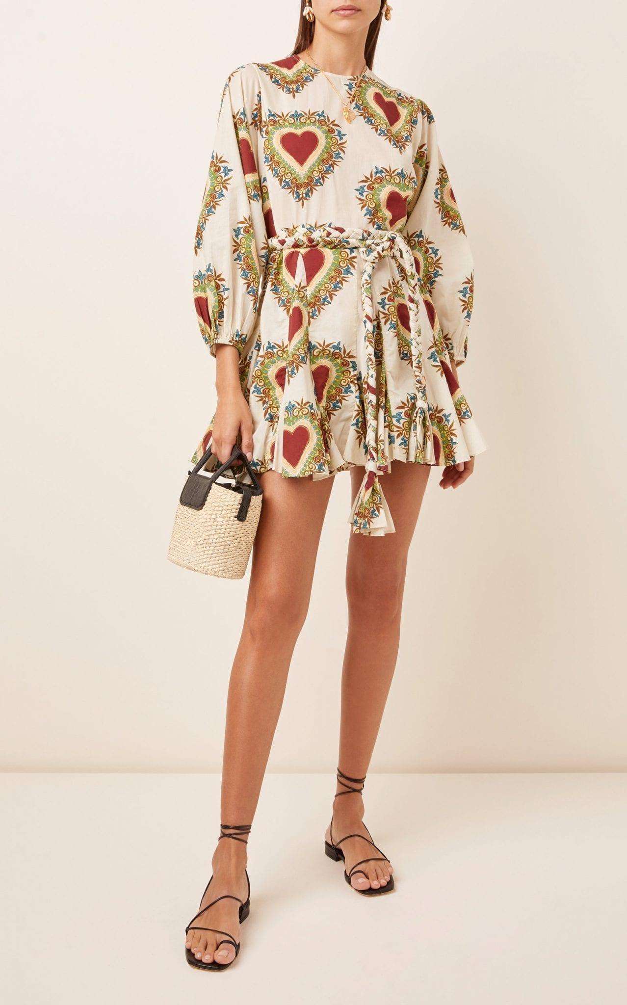 RHODE Ella Tie-Waist Cotton Mini Dress