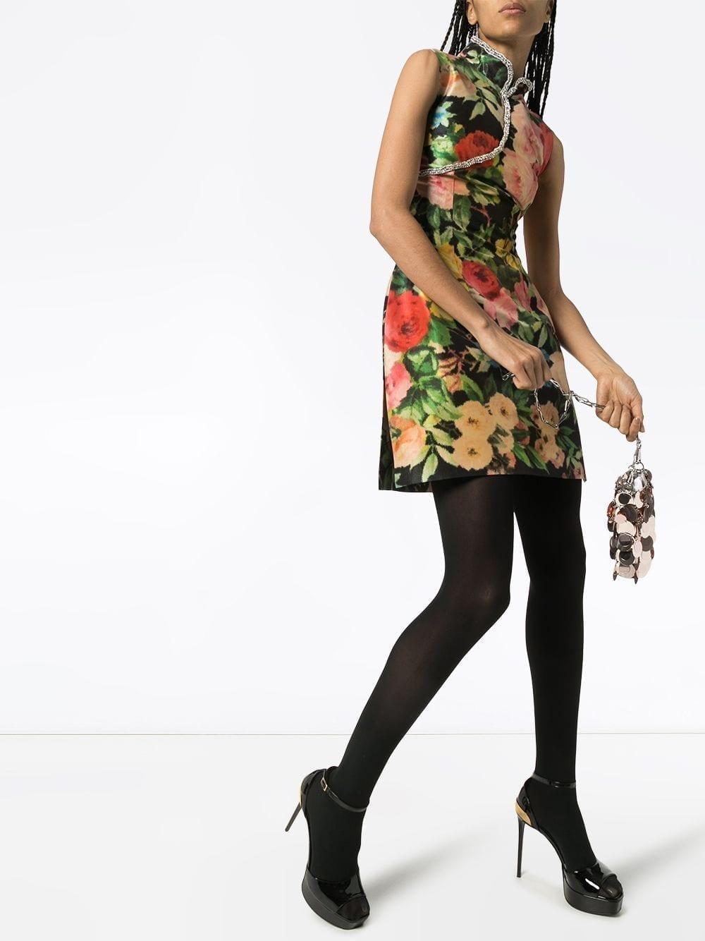 RICHARD QUINN Qipao Floral Print Mini Dress