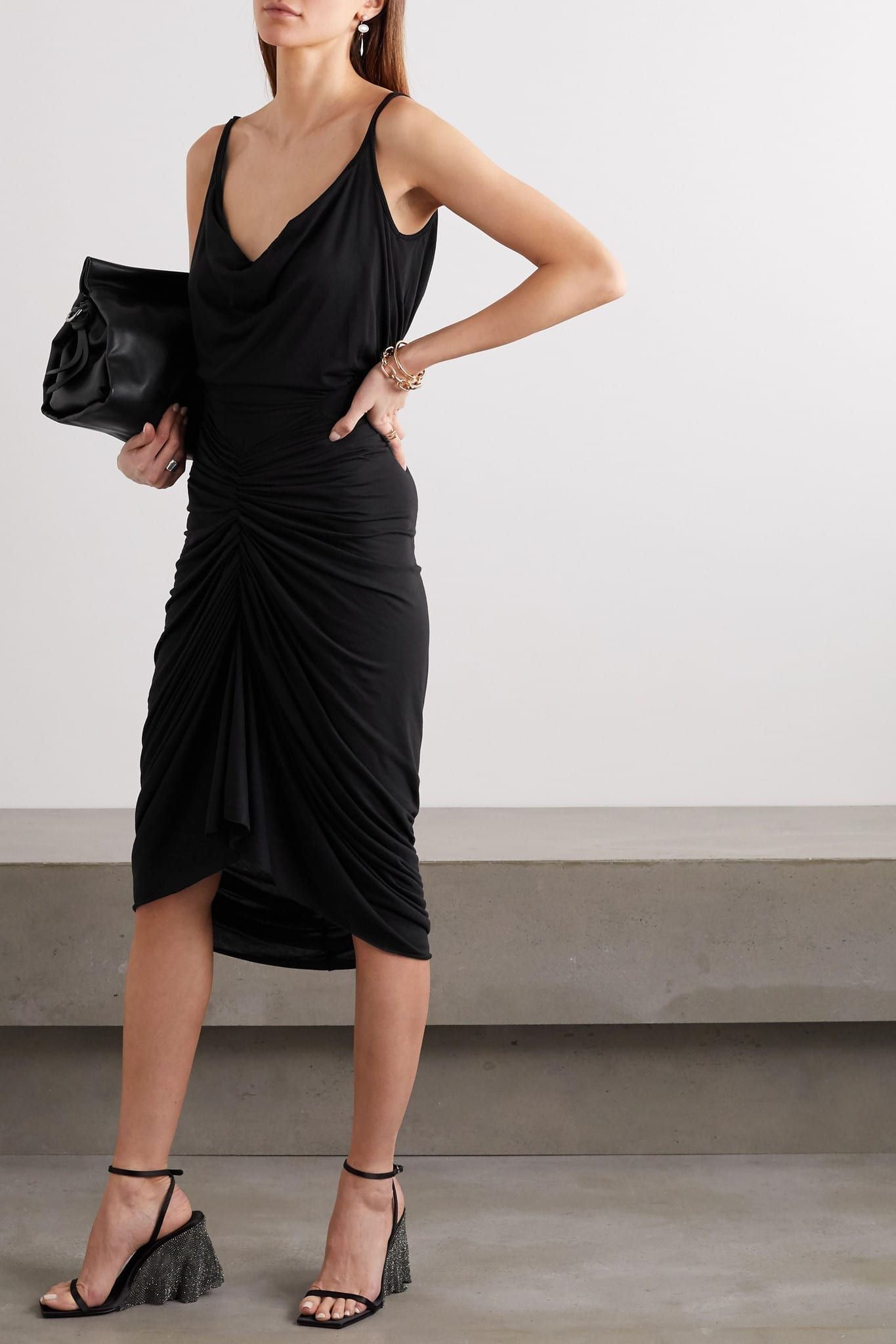 RICK OWENS Abito Gathered Jersey Dress