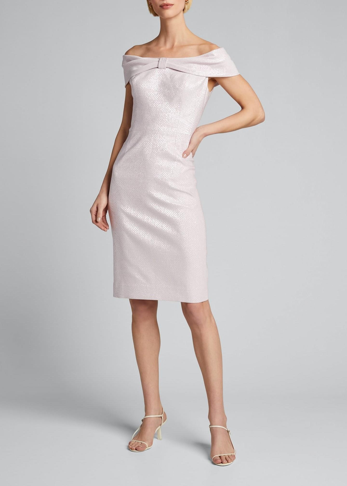 RICKIE FREEMAN FOR TERI JON Off-the-Shoulder Bow-Front Stretch Metallic Sheath Dress