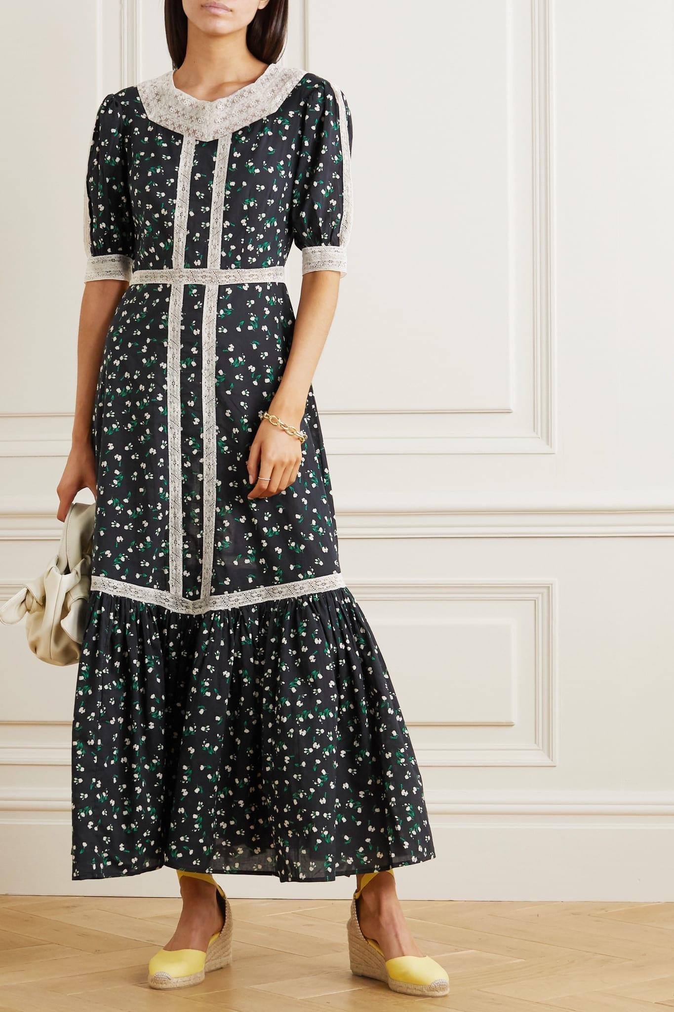 RIXO Ash Crochet-trimmed Floral-print Cotton Maxi Dress