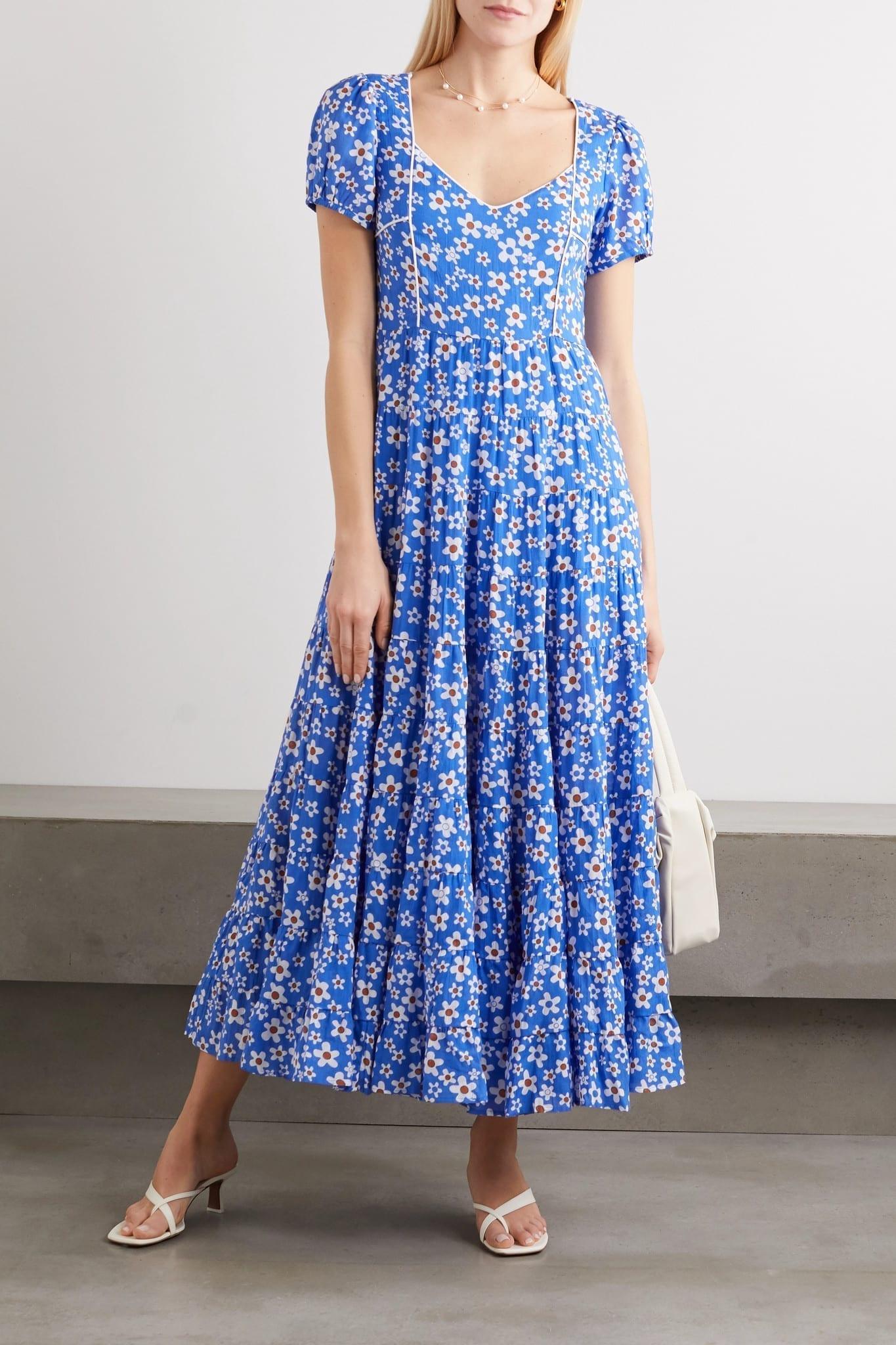 RIXO Tamara Tiered Floral-print Cotton-blend Maxi Dress