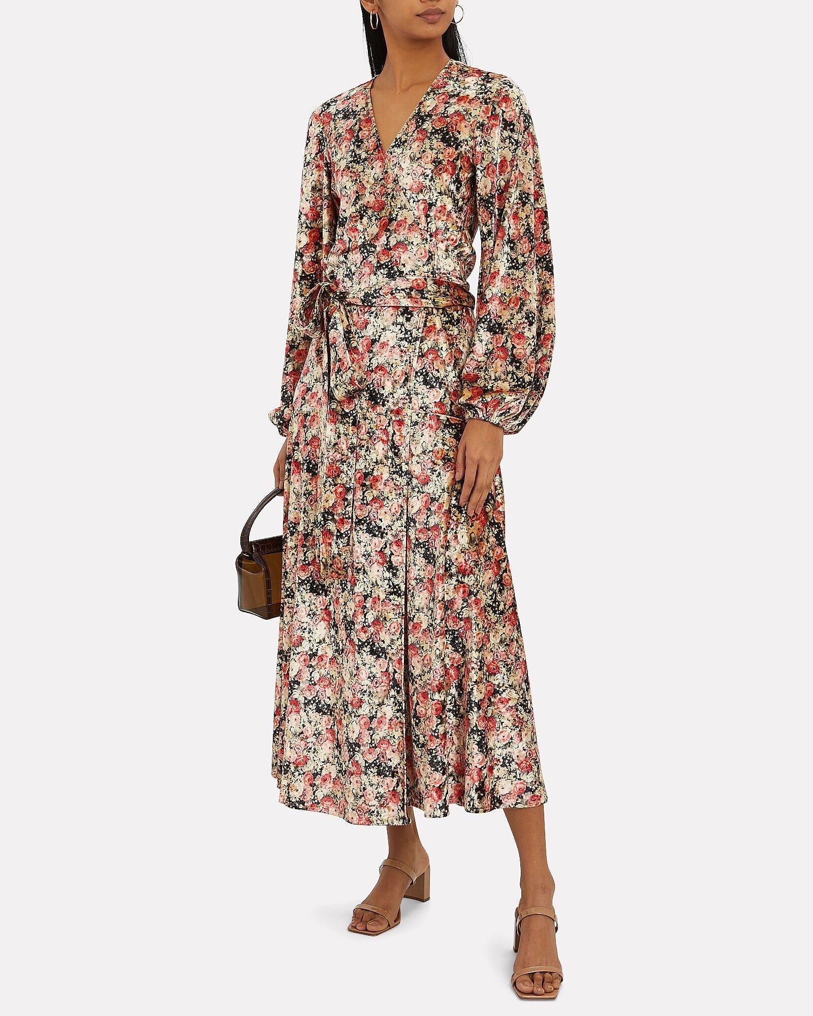ROTATE BIRGER CHRISTENSEN Beatrix Velvet Floral Wrap Dress