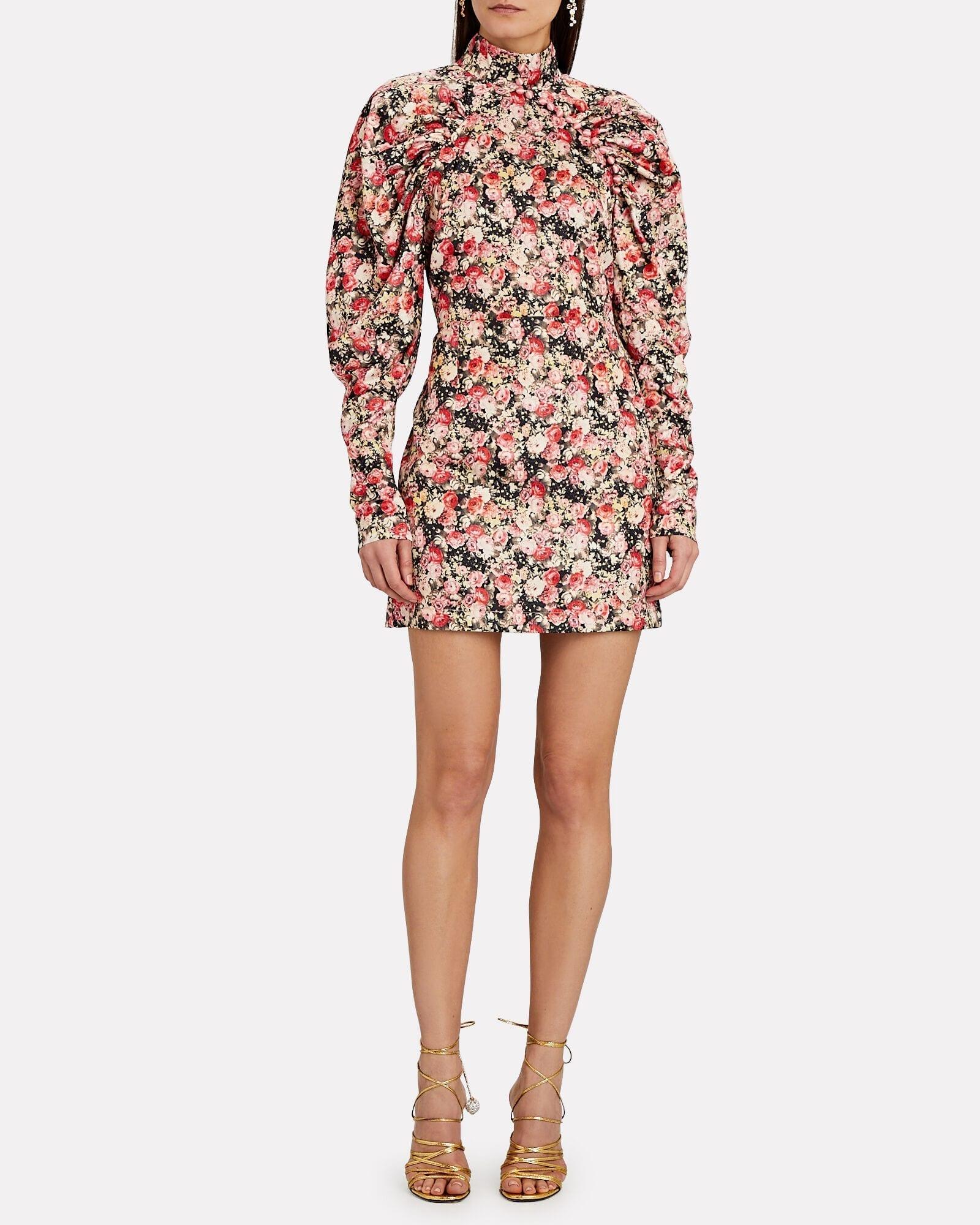 ROTATE BIRGER CHRISTENSEN Kim Ruched Floral Mini Dress