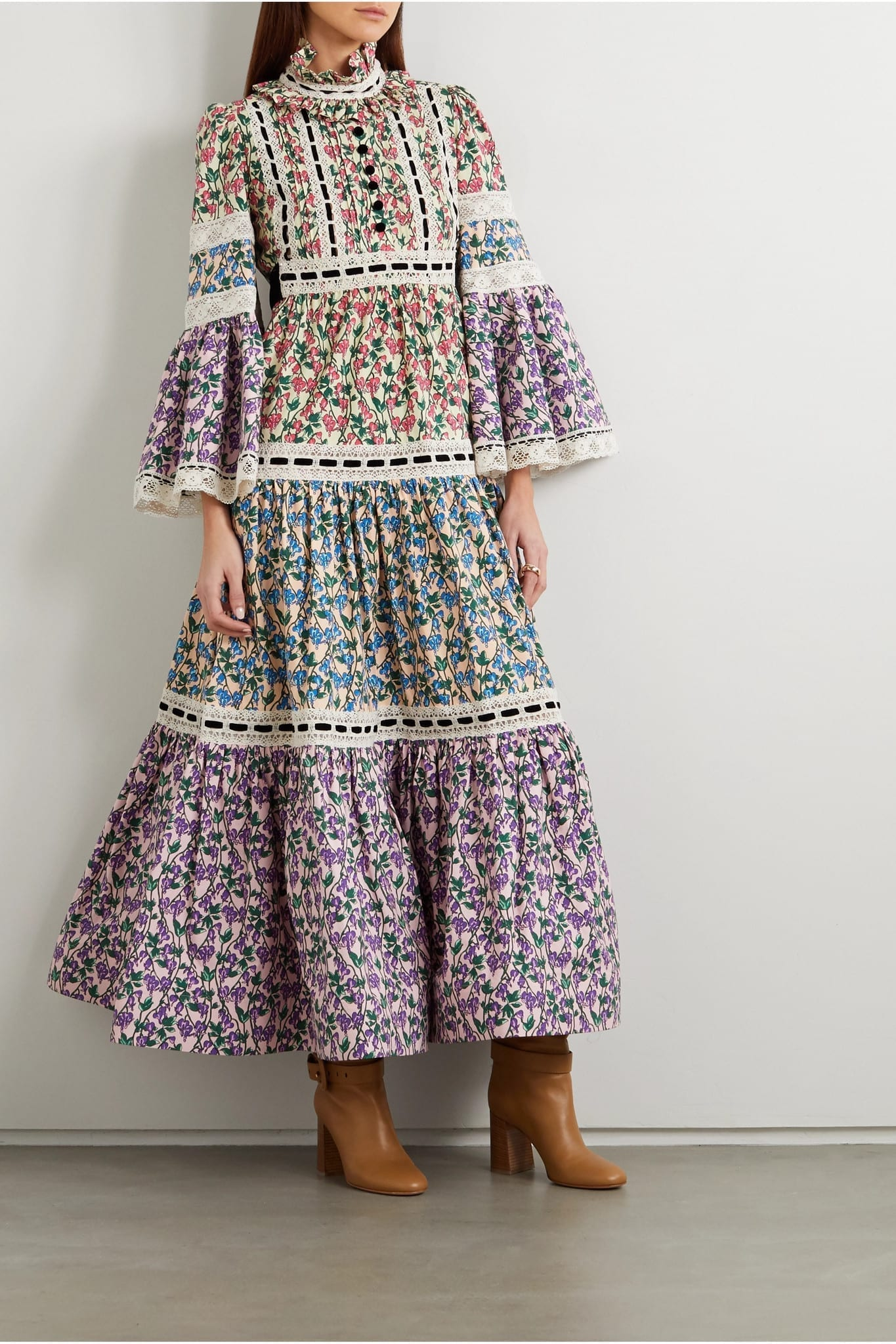 RUNWAY MARC JACOBS Velvet And Lace-trimmed Floral-print Stretch-cotton Maxi Dress