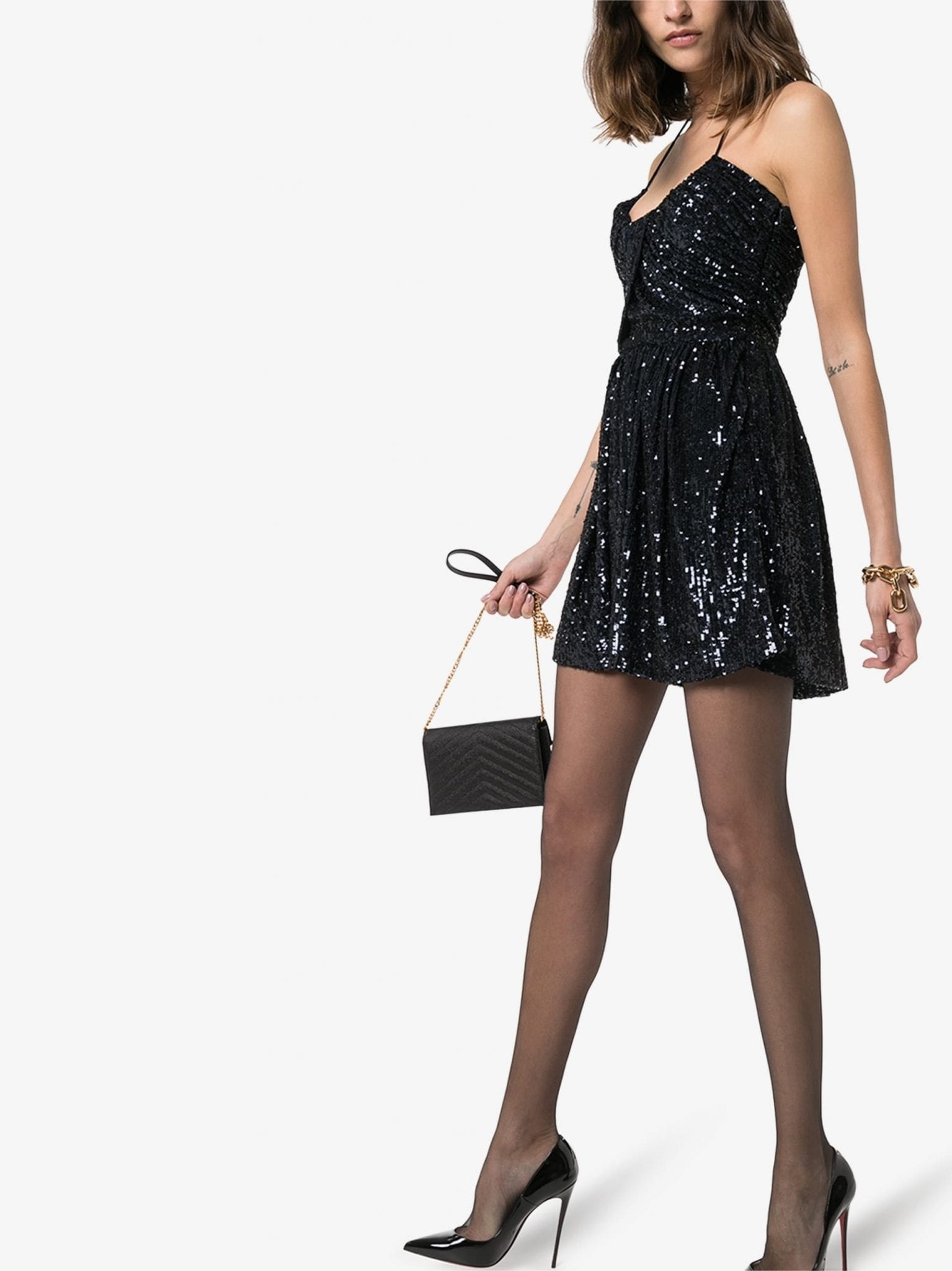SAINT LAURENT Halterneck Sequin Mini Dress