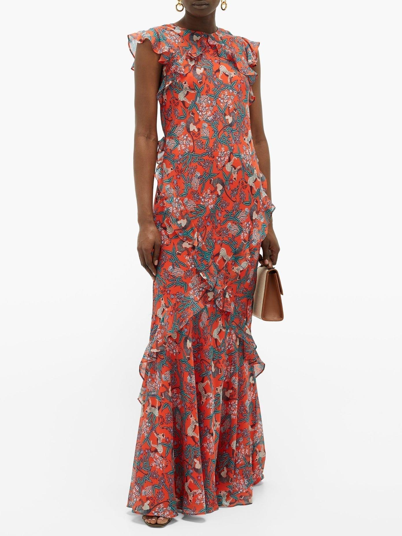 SALONI Tamara-B Monkey-Print Frilled Silk Dress