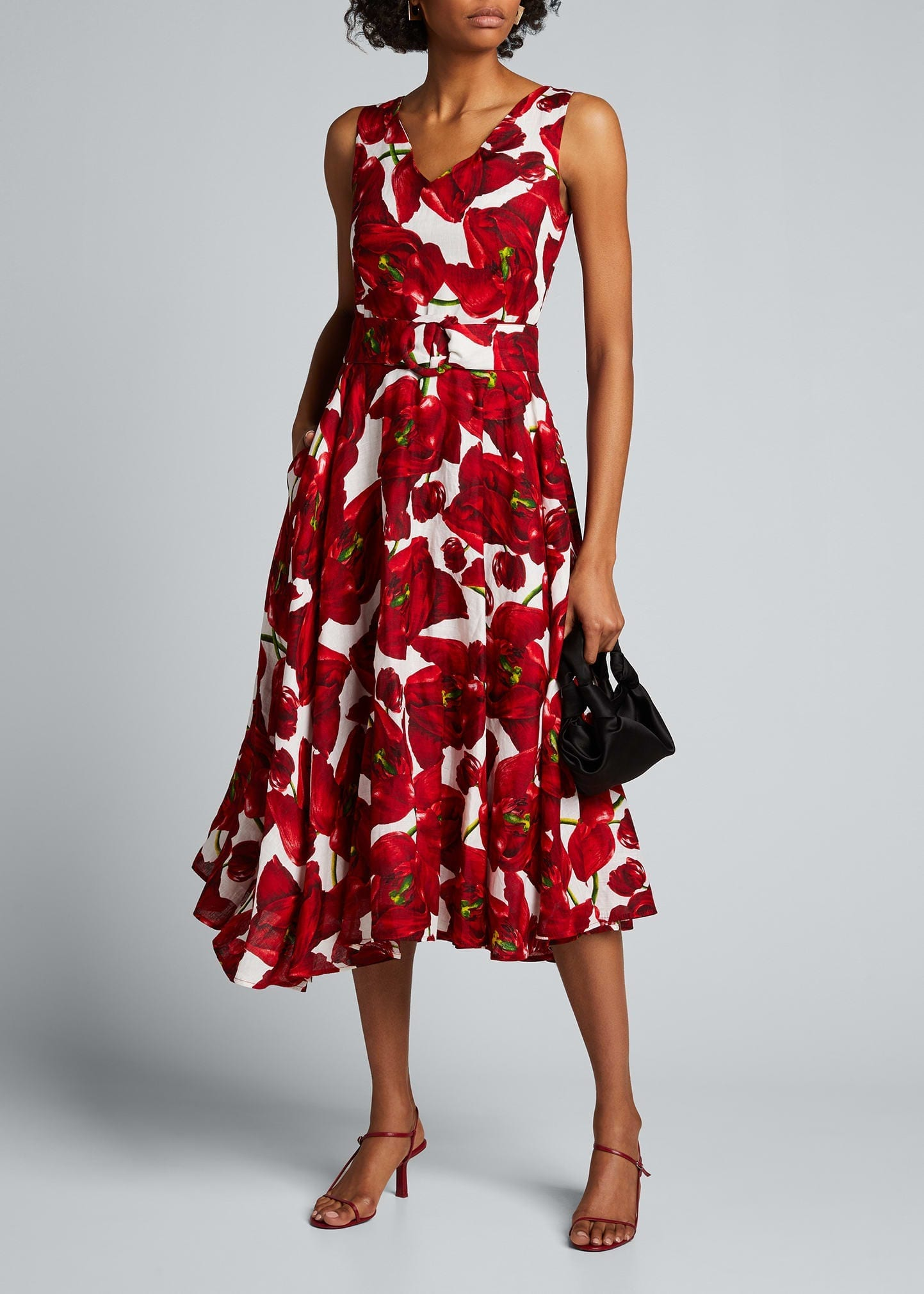 SAMANTHA SUNG Floral-Print Linen A-Line Midi Dress