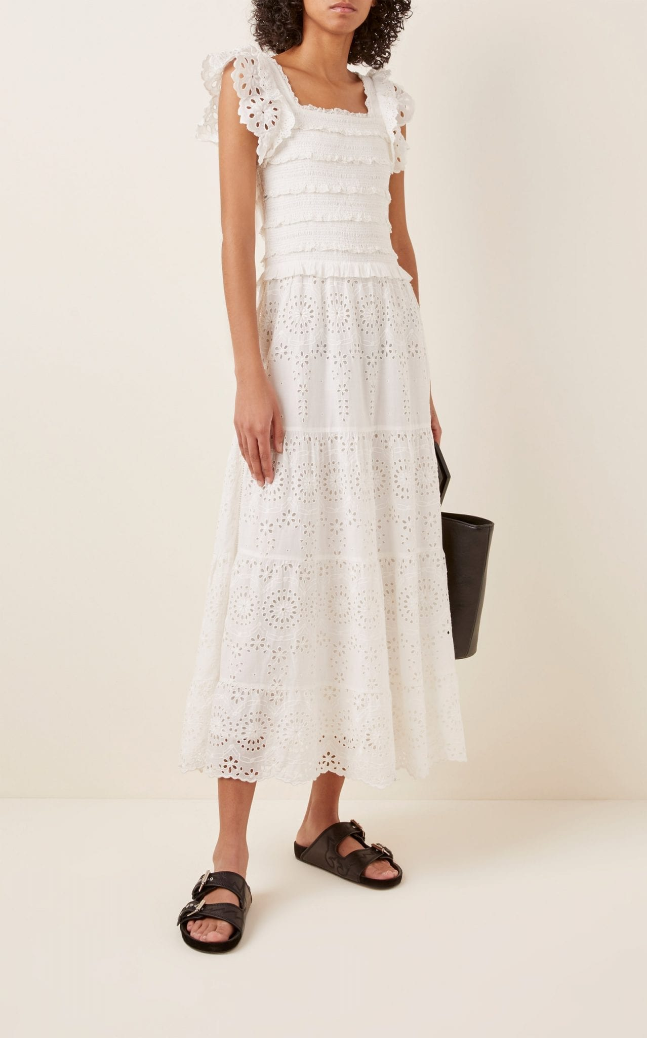 SEA Daisy Smocked Cotton-Poplin Midi Dress