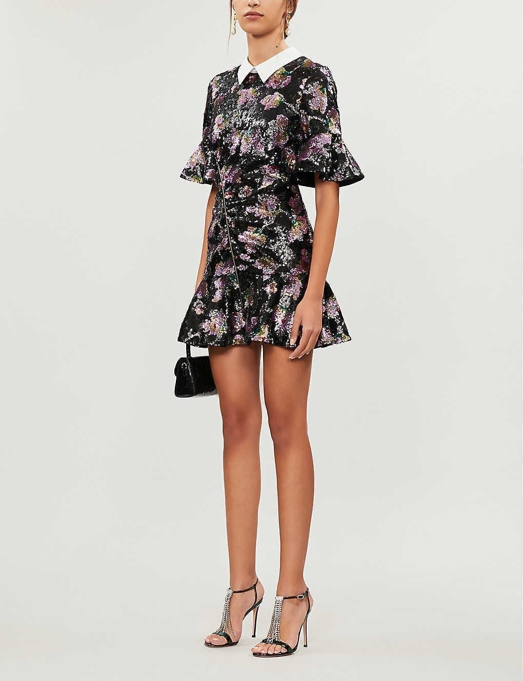 SELF-PORTRAIT Contrast-collar Floral-pattern Sequin Mini Dress