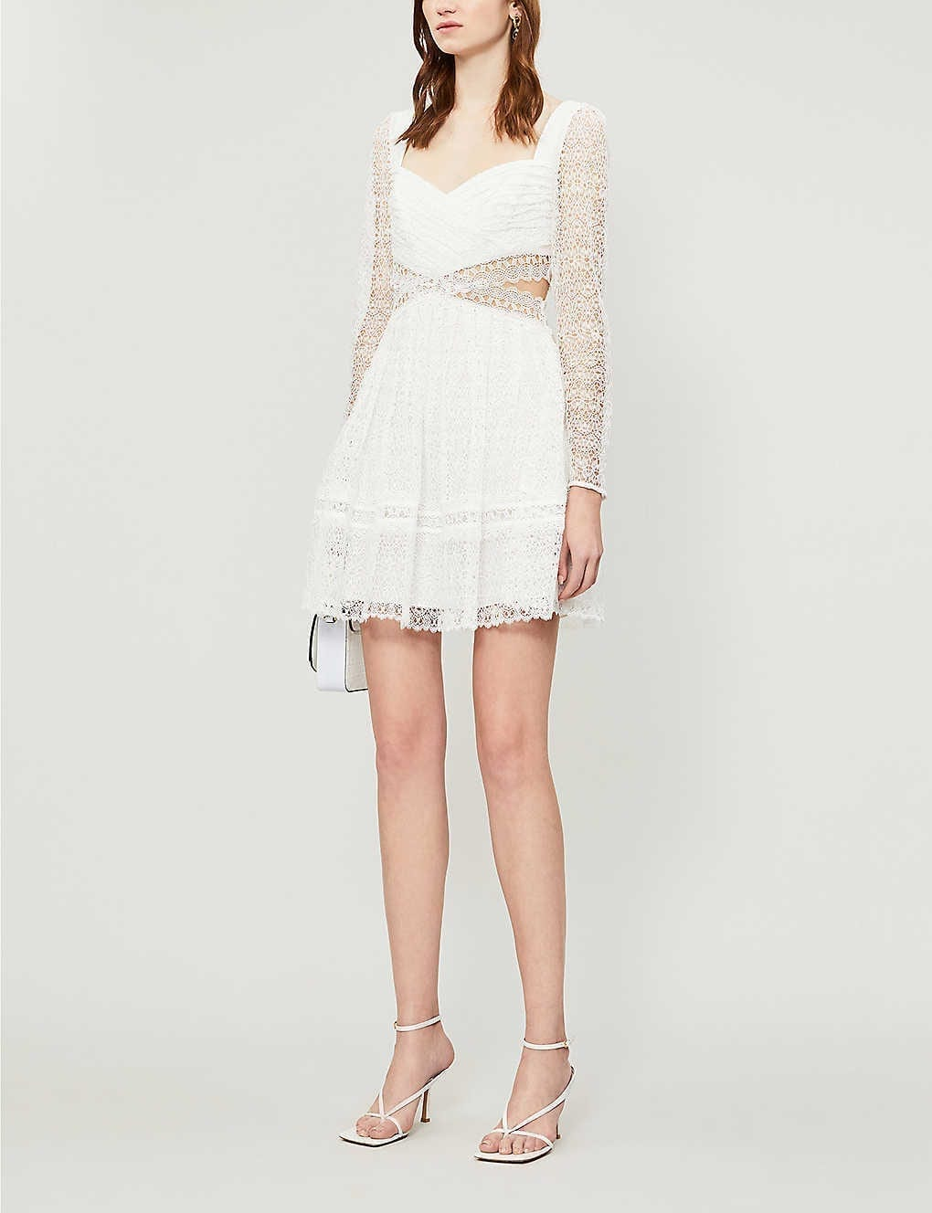 SELF-PORTRAIT Frilled-trim Woven-lace Mini Dress
