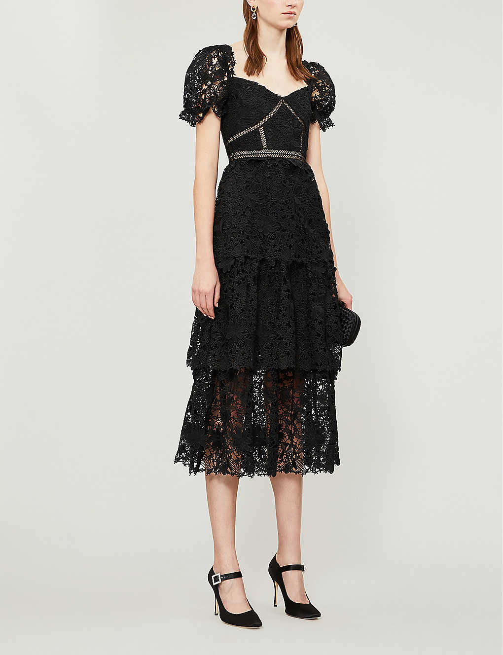 SELF-PORTRAIT Puffed-sleeve Tiered 3d Floral-lace Midi Dress
