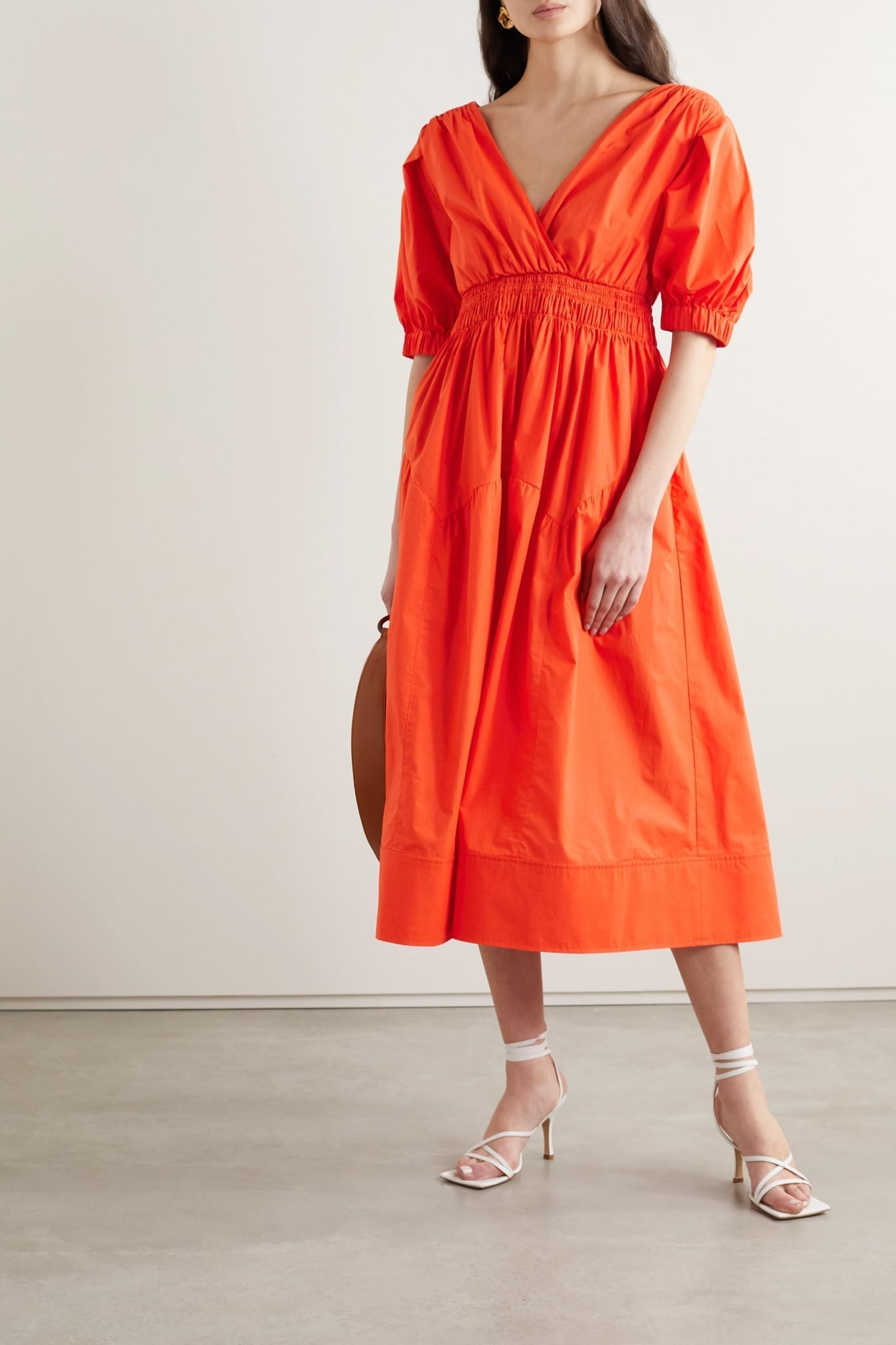 SELF-PORTRAIT Shirred Cotton-Poplin Midi Dress